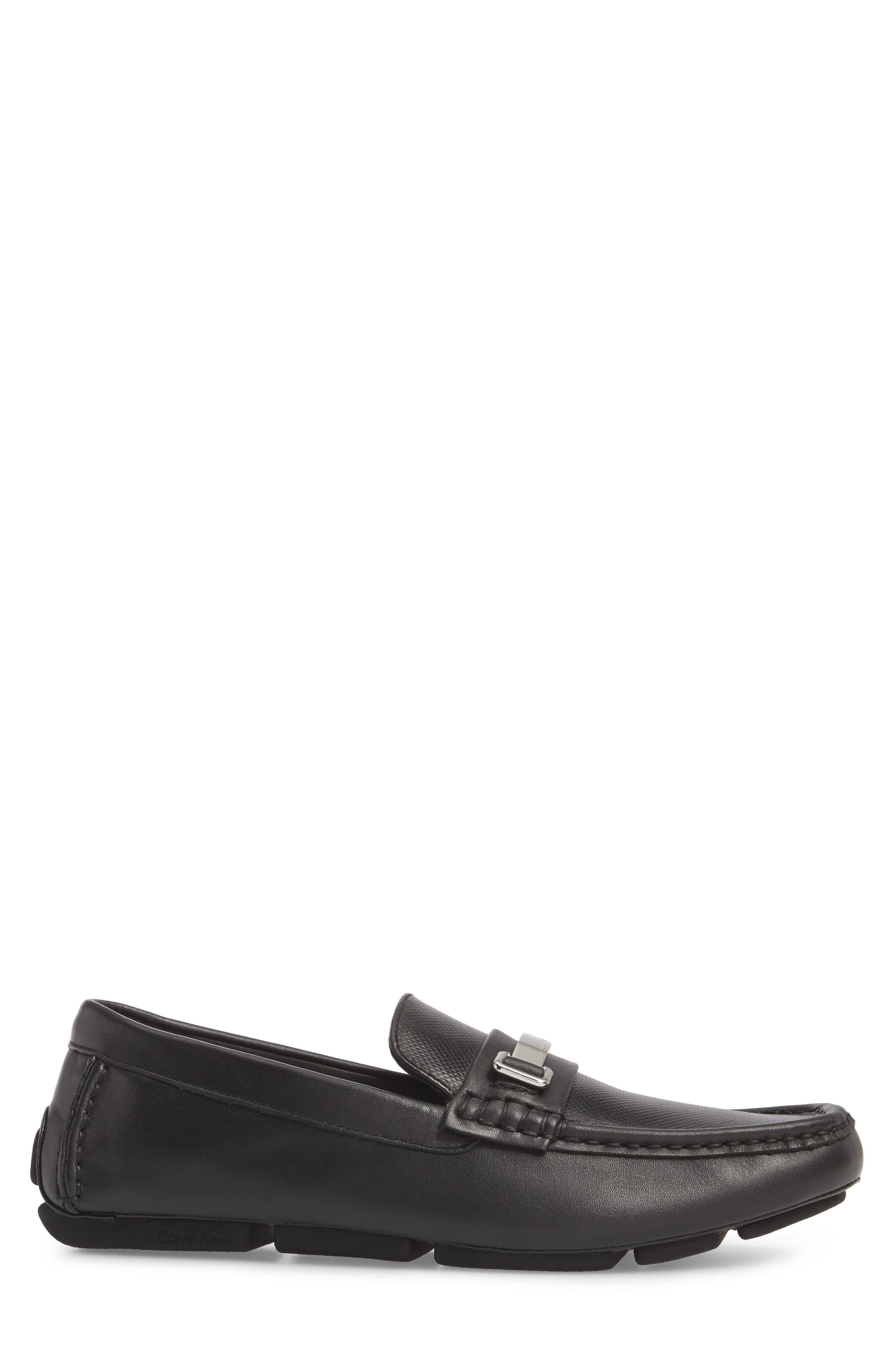 CALVIN KLEIN, Maddix Textured Driving Moccasin, Alternate thumbnail 3, color, BLACK LEATHER