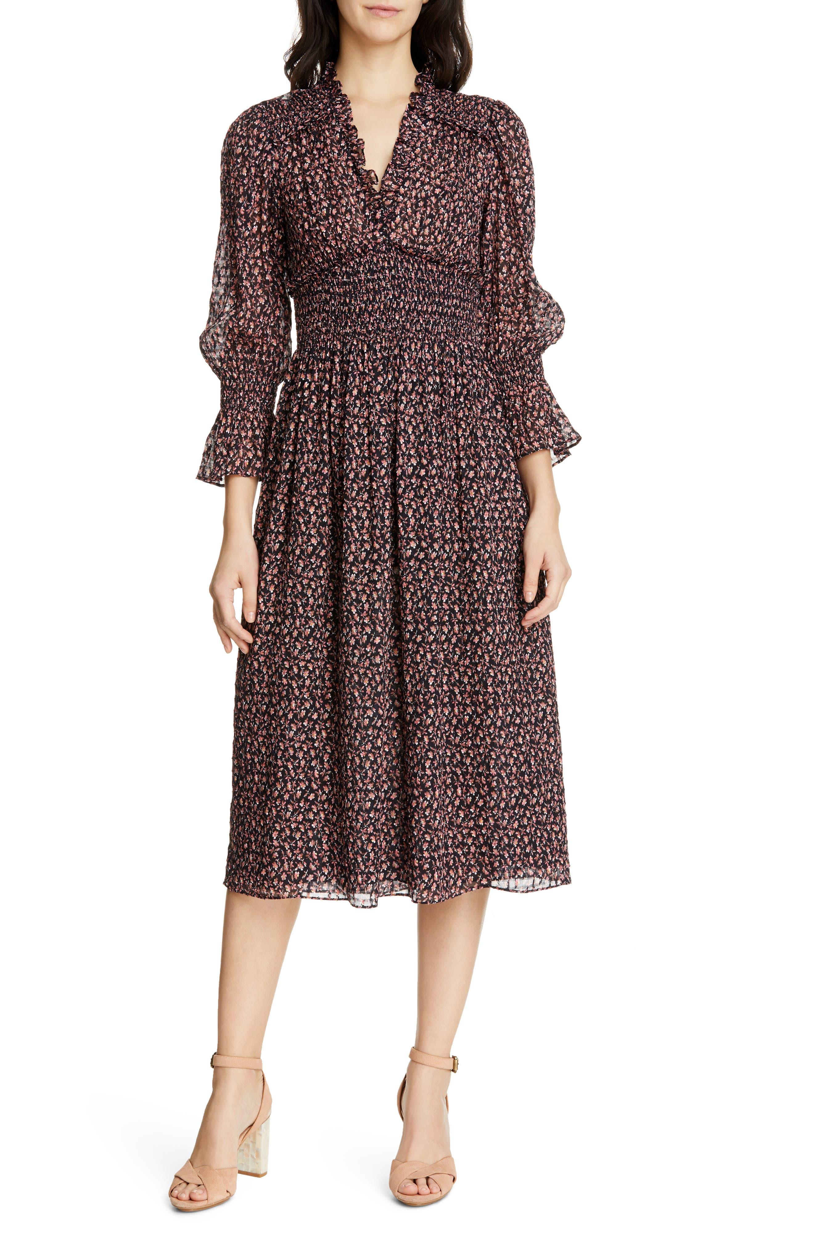 REBECCA TAYLOR, Floral Smock Detail Long Sleeve Silk & Cotton Dress, Main thumbnail 1, color, NAVY COMBO