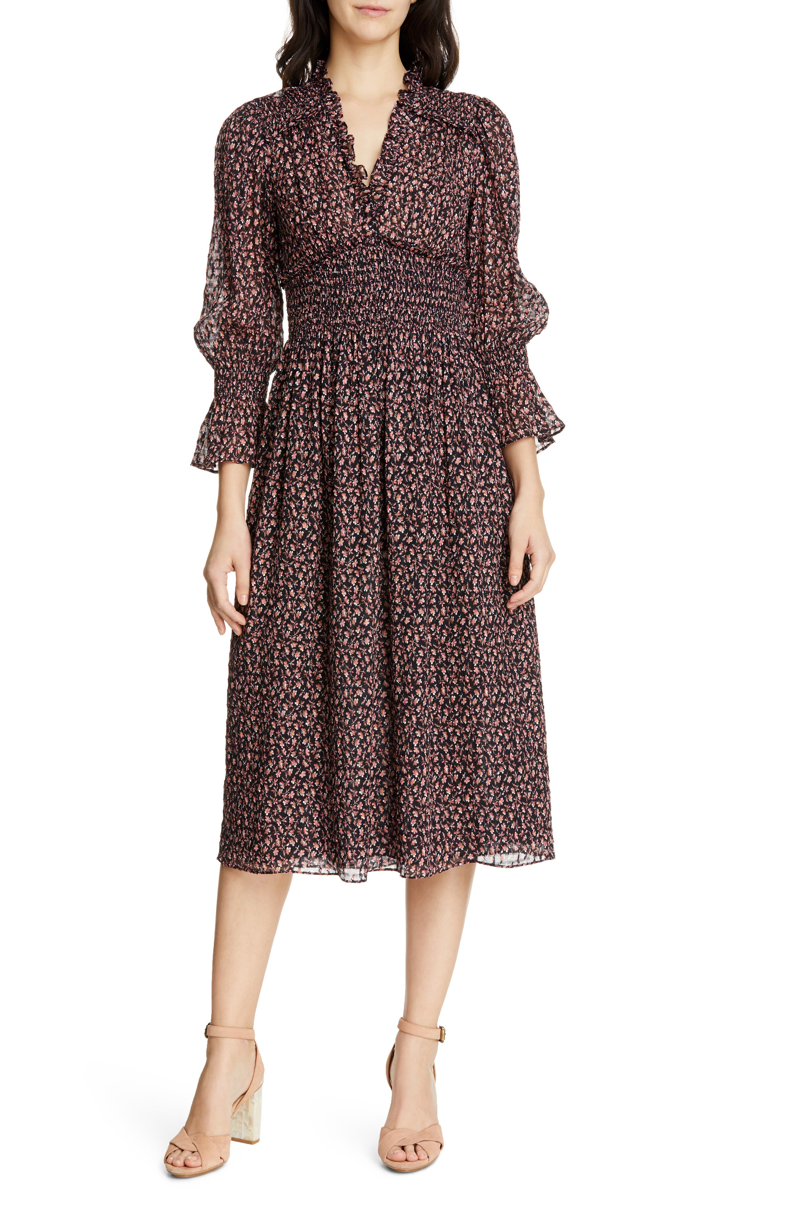 REBECCA TAYLOR Floral Smock Detail Long Sleeve Silk & Cotton Dress, Main, color, NAVY COMBO