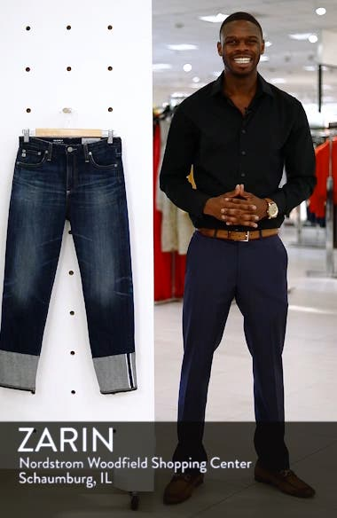 The Isabelle High Waist Cuff Crop Straight Leg Jeans, sales video thumbnail