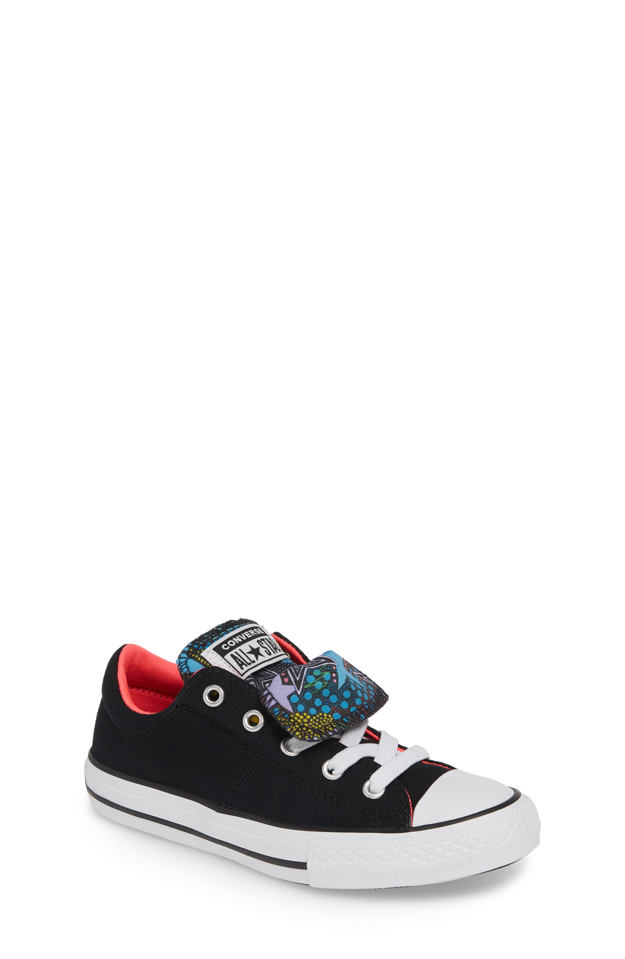 CONVERSE Chuck Taylor<sup>®</sup> All Star<sup>®</sup> Maddie Double Tongue Sneaker, Main, color, 001