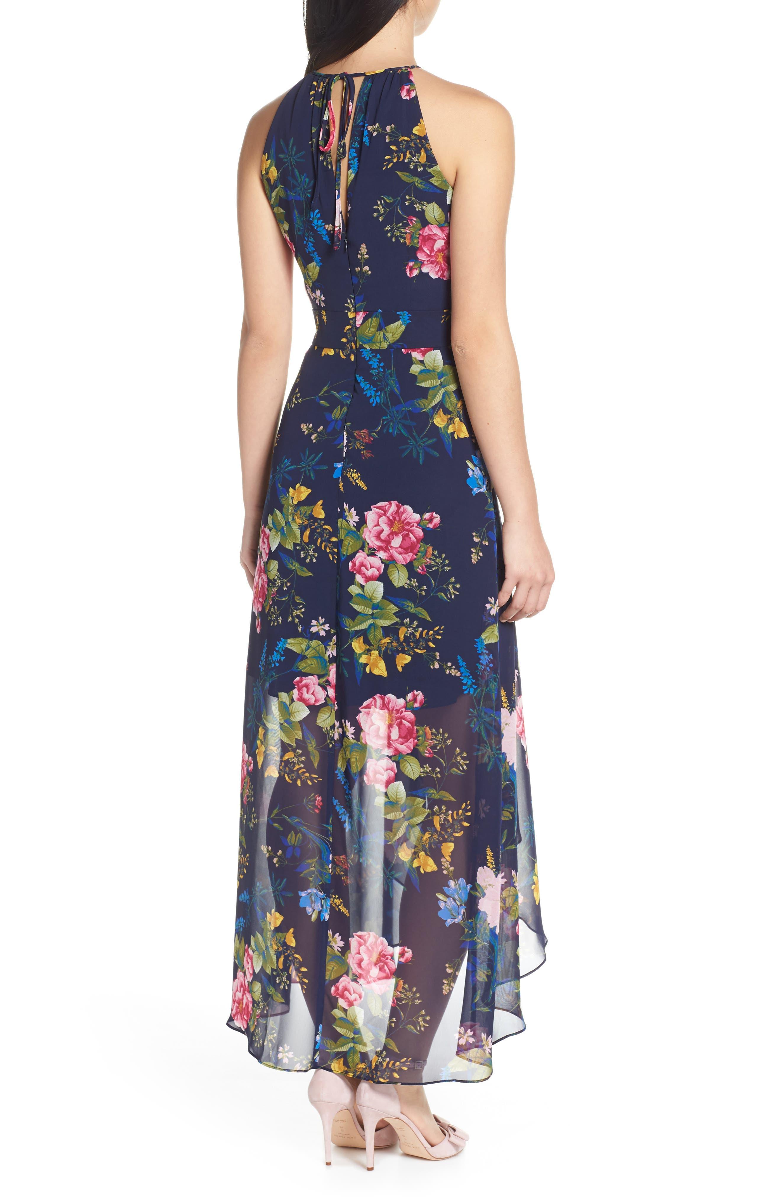ELIZA J, Floral Print Chiffon Halter Dress, Alternate thumbnail 2, color, NAVY