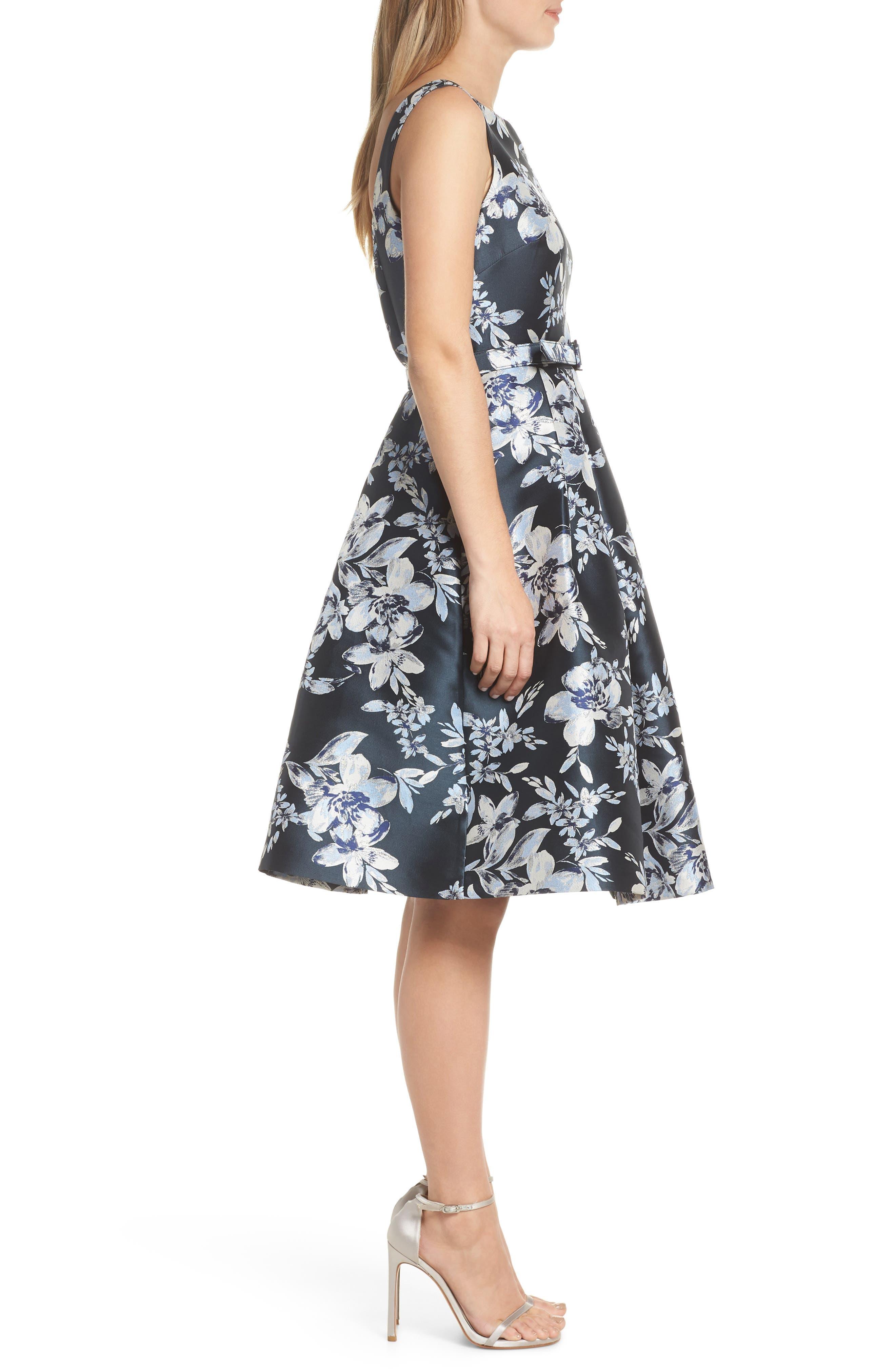 ELIZA J, Metallic Floral Belted Fit & Flare Dress, Alternate thumbnail 4, color, NAVY