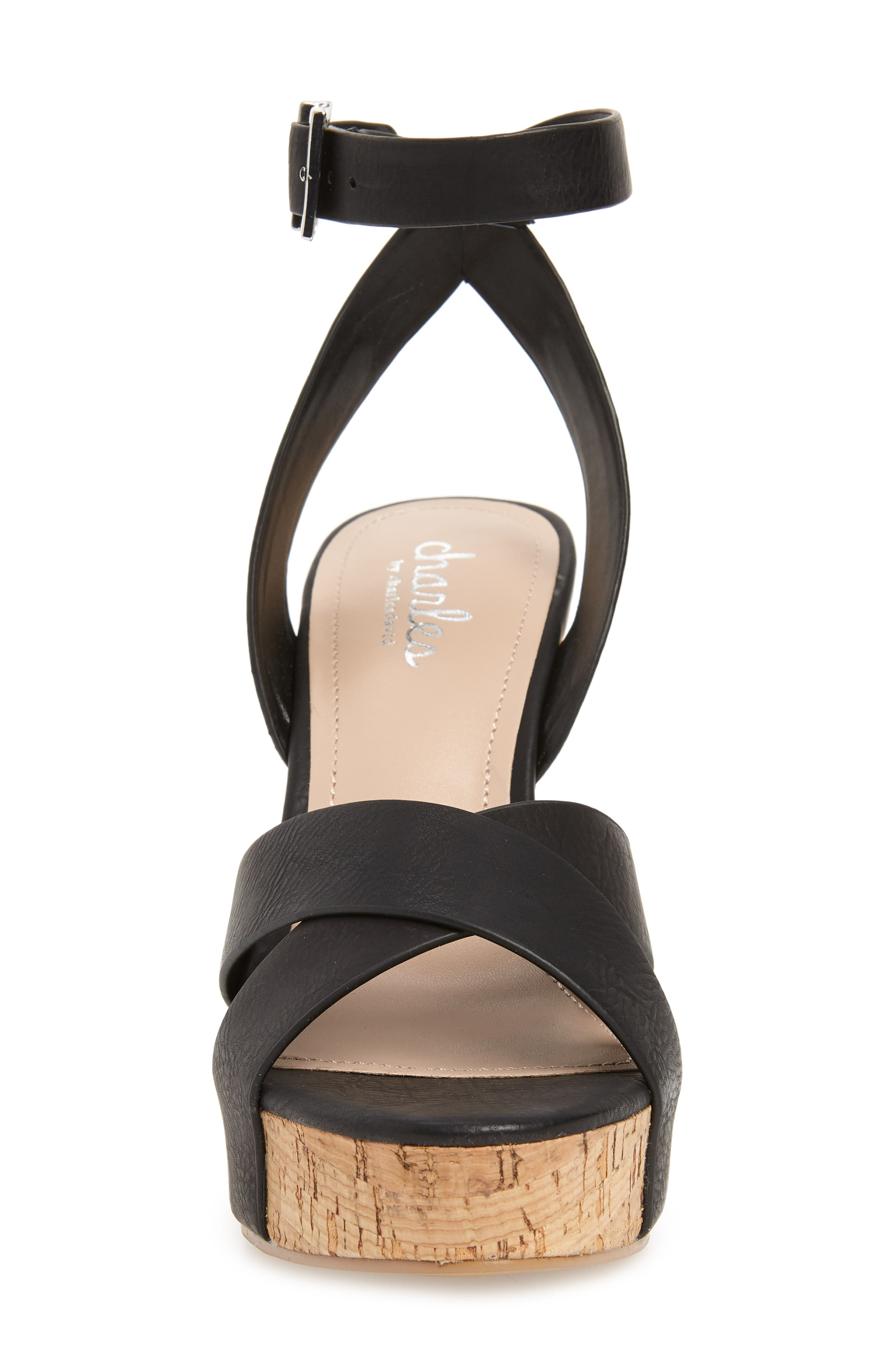 CHARLES BY CHARLES DAVID, Aleck Platform Wedge Sandal, Alternate thumbnail 4, color, BLACK FAUX LEATHER
