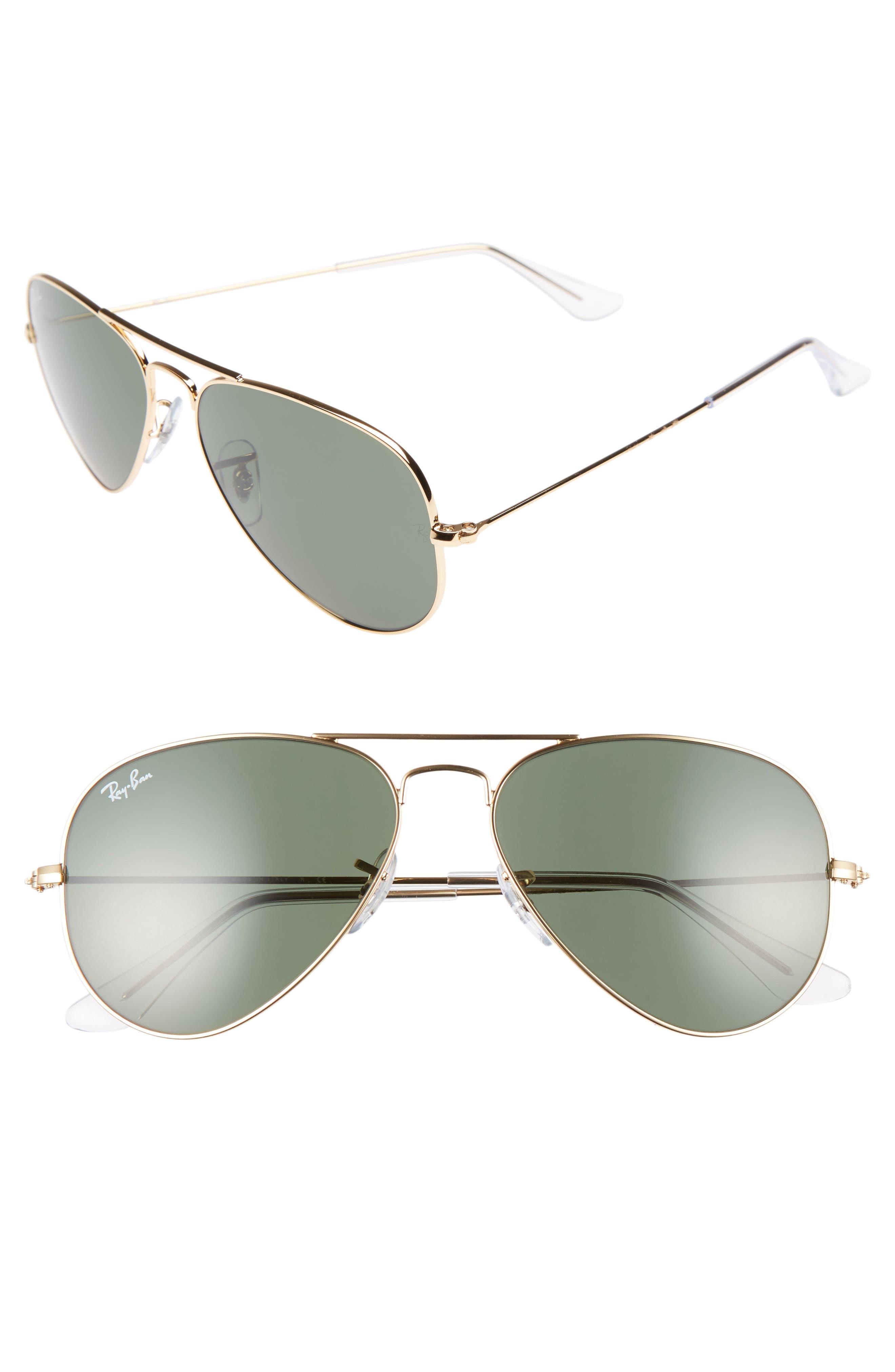 RAY-BAN Small Original 55mm Aviator Sunglasses, Main, color, GOLD/GREEN