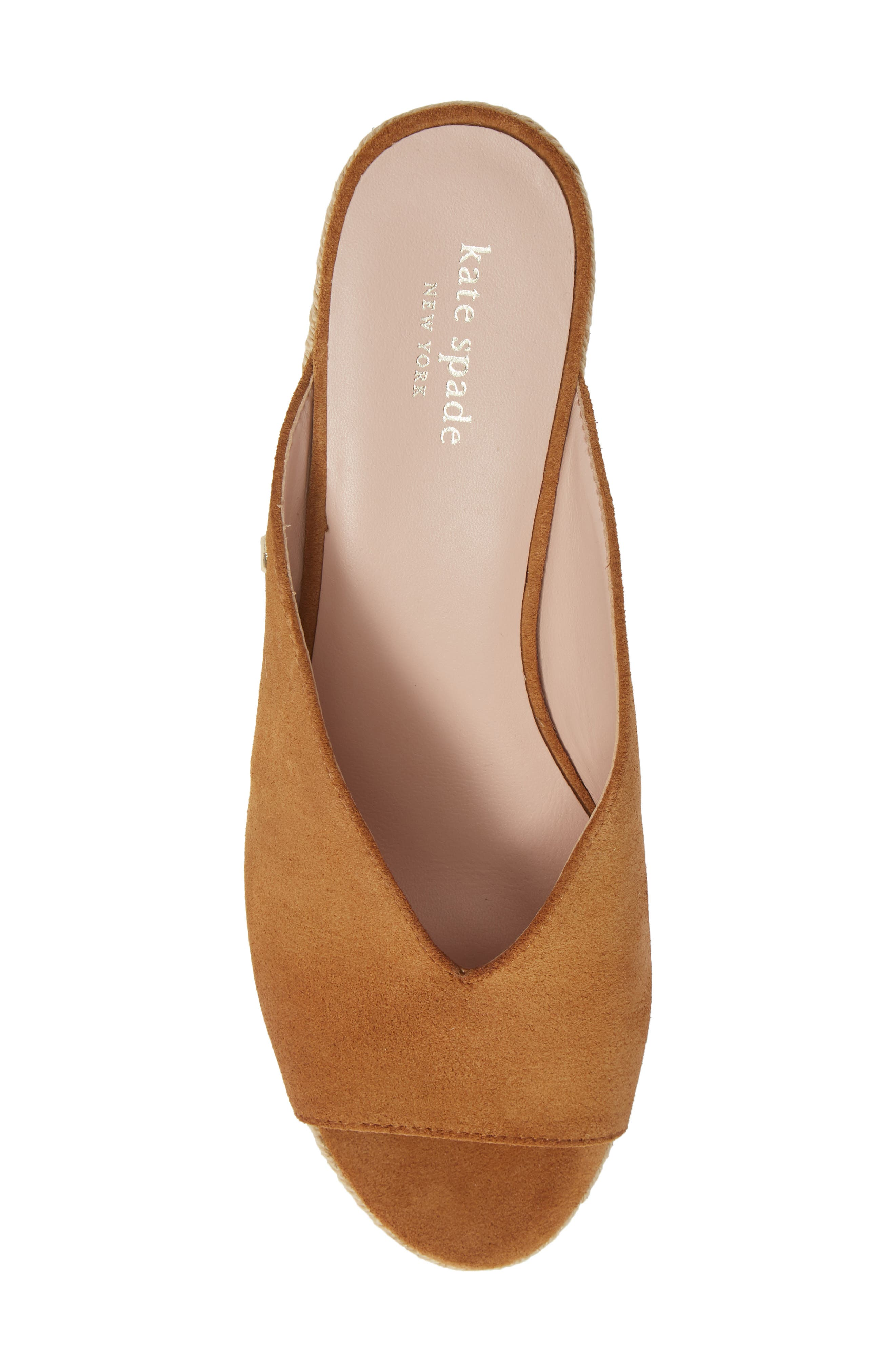 KATE SPADE NEW YORK, thea wedge espadrille mule, Alternate thumbnail 5, color, TOAST