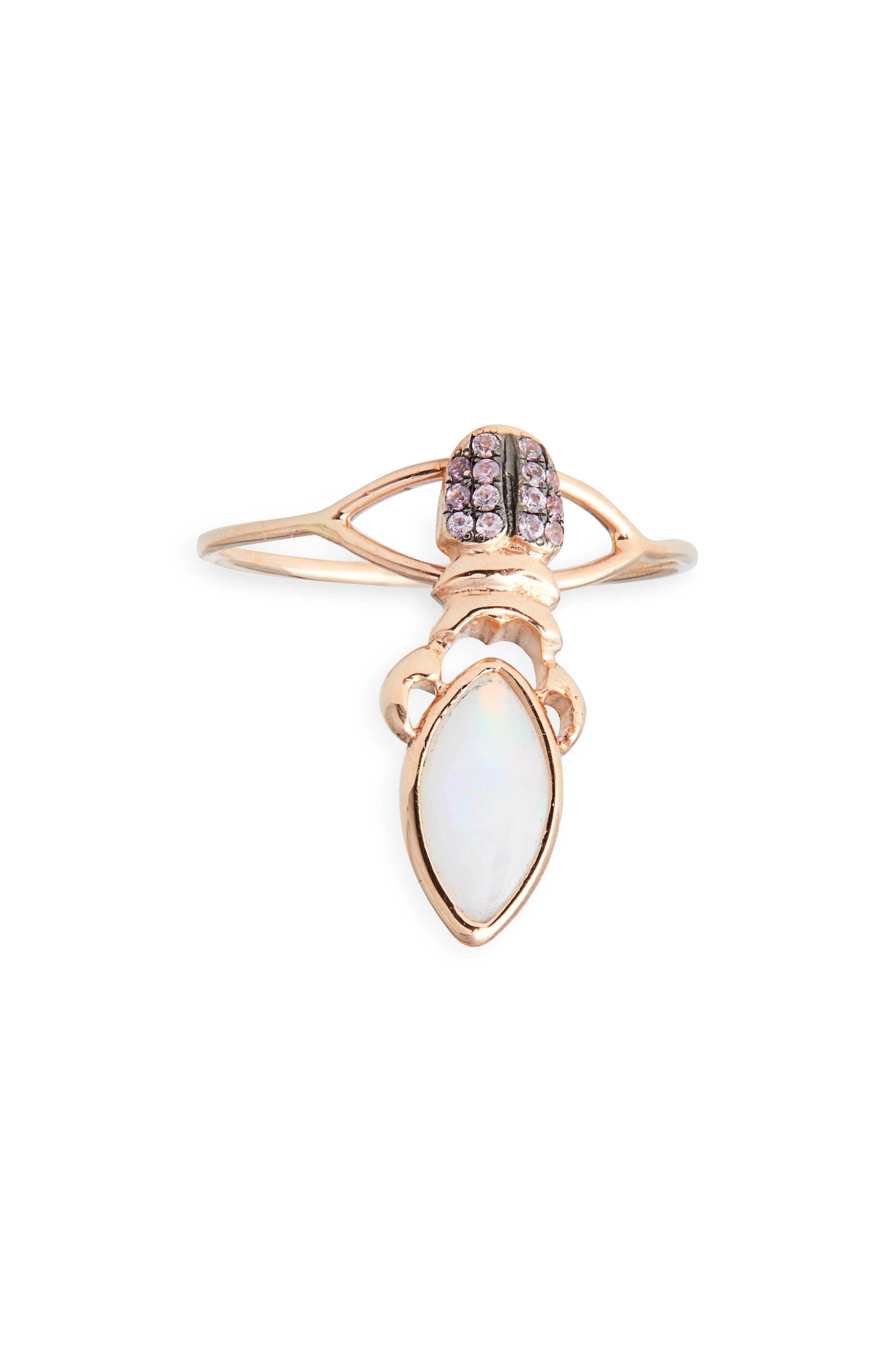 DANIELA VILLEGAS, Khepri Opal & Pink Sapphire Ring, Main thumbnail 1, color, GOLD