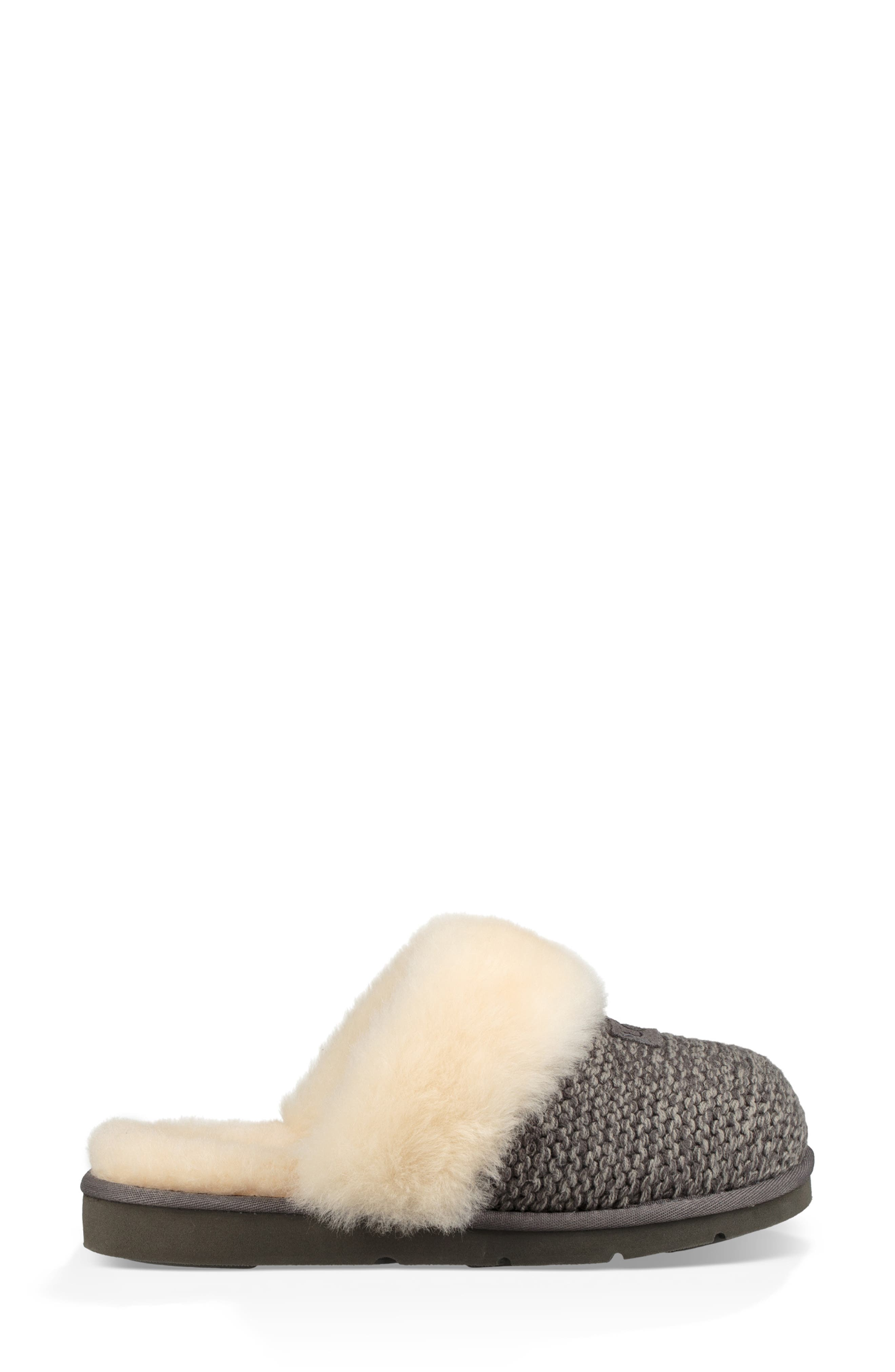 UGG<SUP>®</SUP>, Cozy Knit Genuine Shearling Slipper, Alternate thumbnail 3, color, CHARCOAL