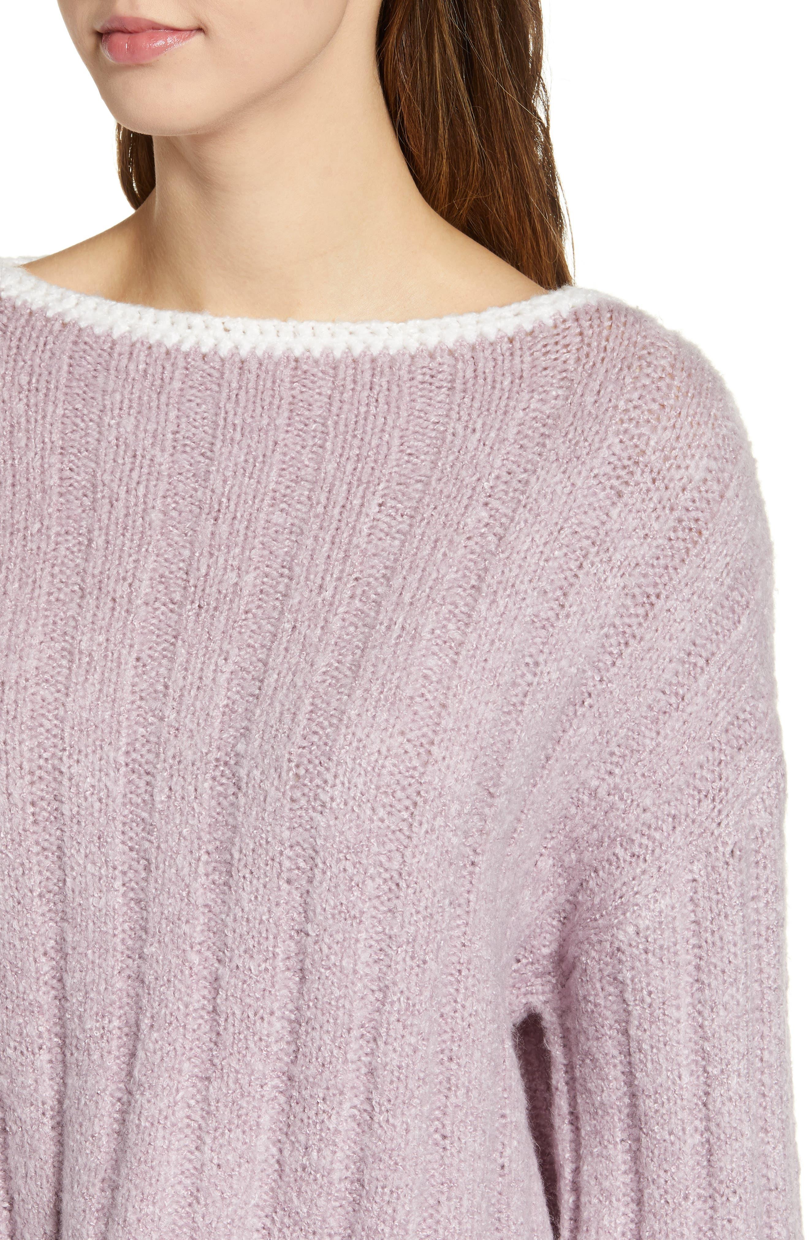 J.O.A., Oversize Sweater, Alternate thumbnail 4, color, LAVENDER