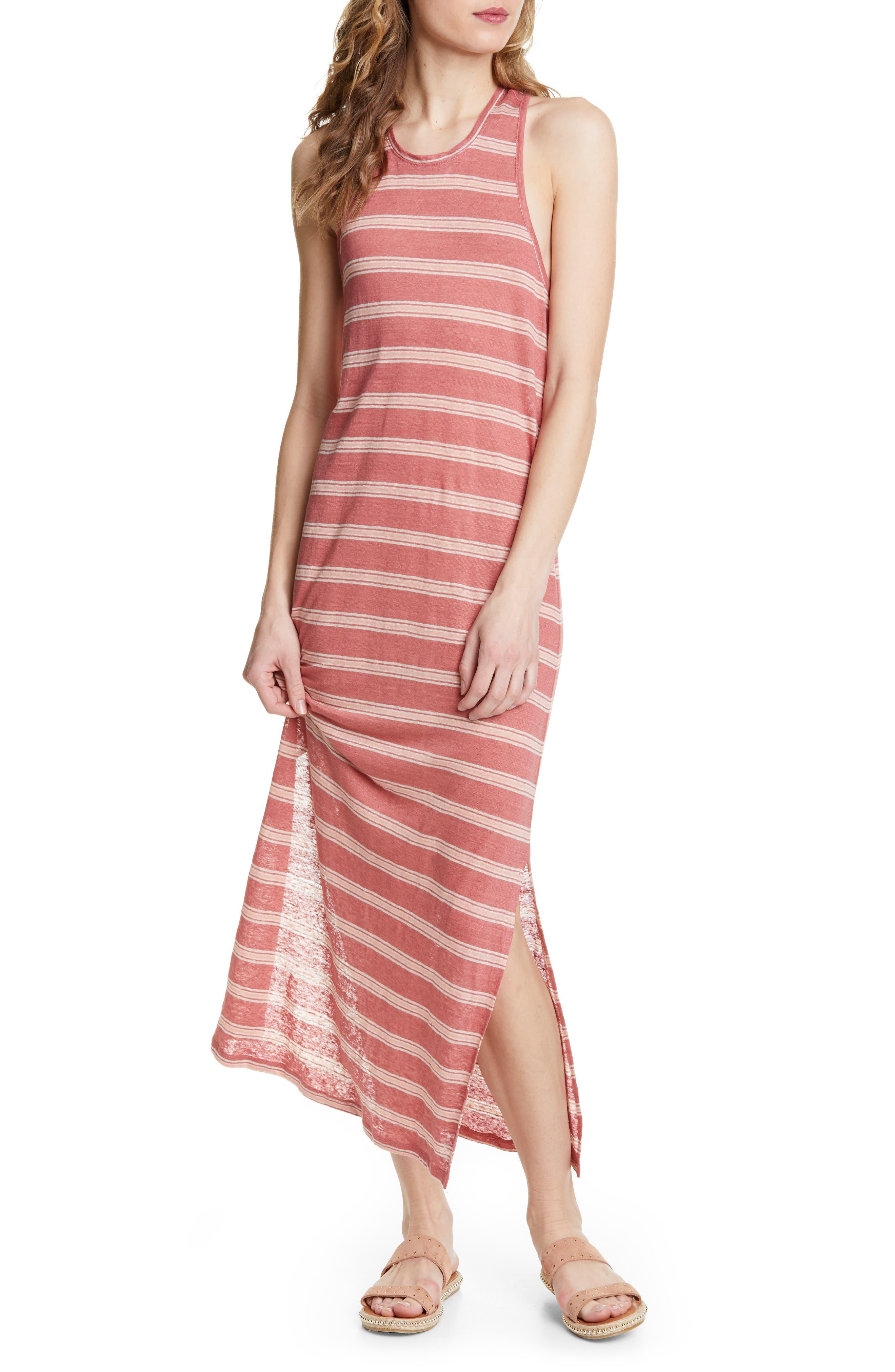 Joie Brellen Twist Back Linen Tank Dress, Red