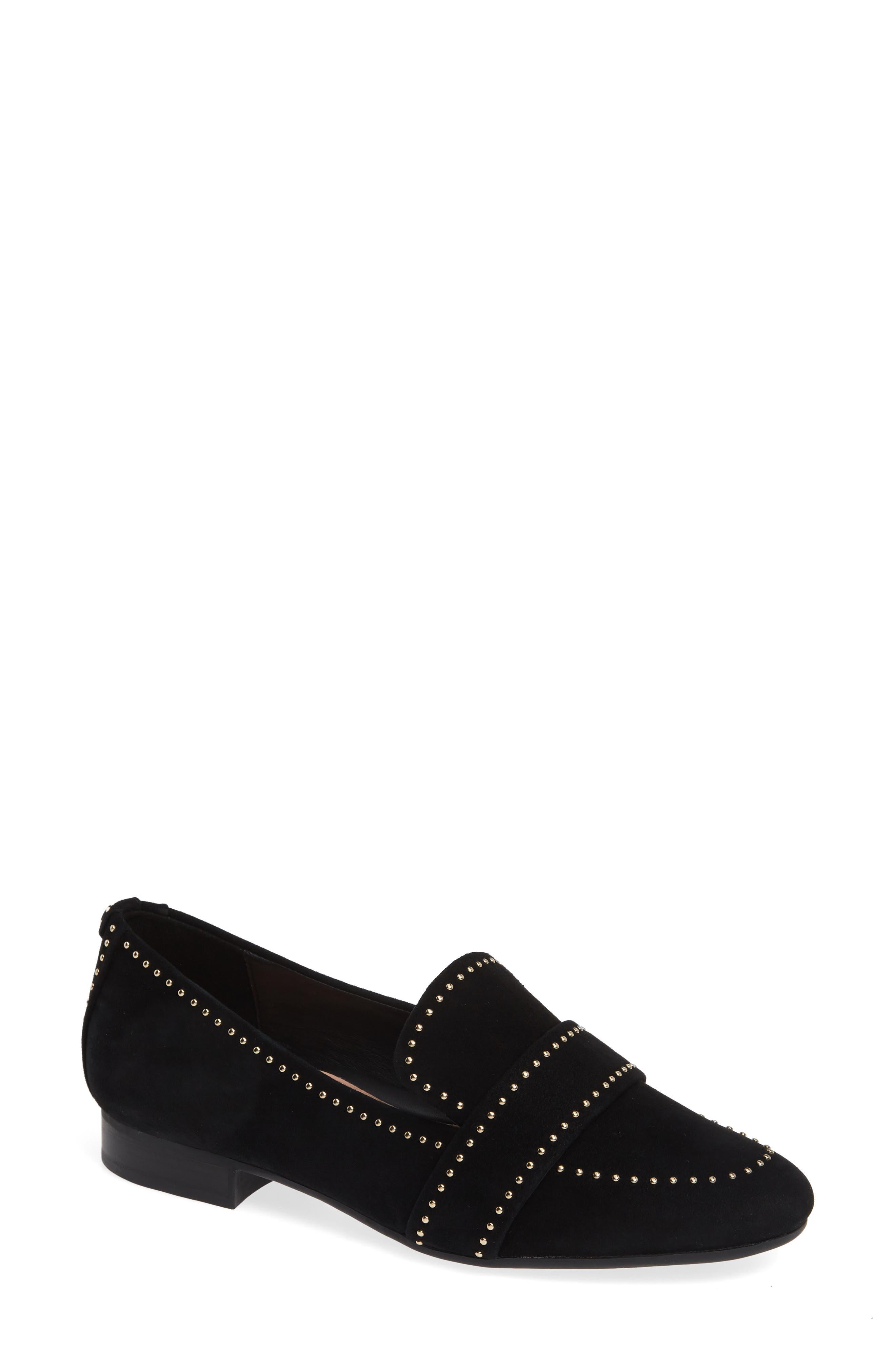 TARYN ROSE Bristol Loafer, Main, color, BLACK SUEDE