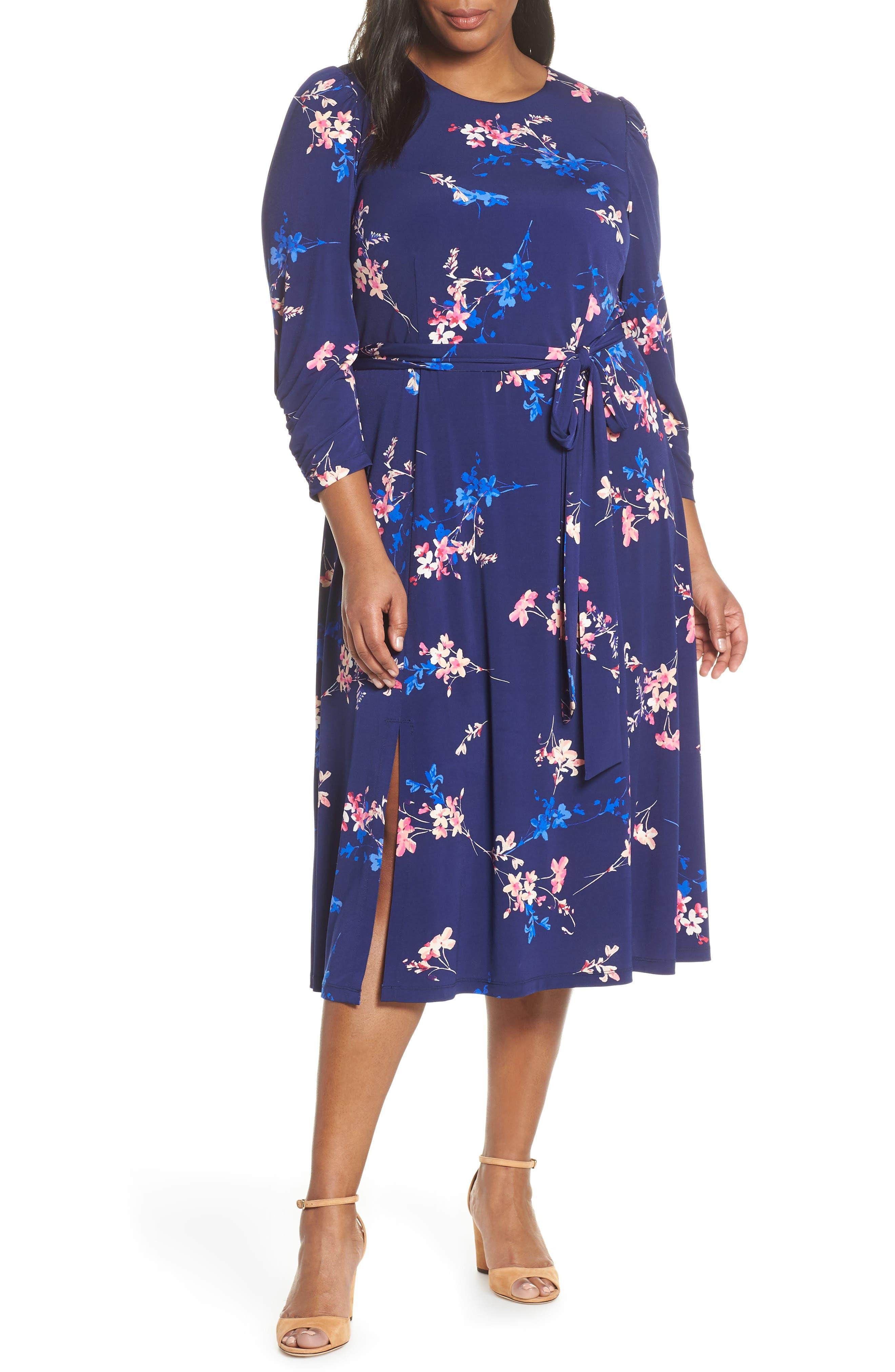 1930s Art Deco Plus Size Dresses   Tea Dresses, Party Dresses Plus Size Womens Eliza J Floral Belted Midi Dress Size 24W - Blue $148.00 AT vintagedancer.com