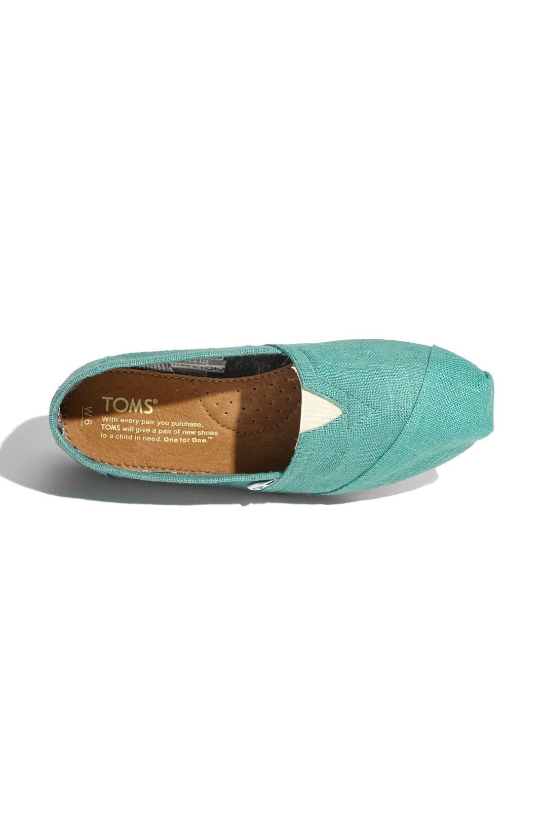 TOMS, 'Classic' Linen Slip-On, Alternate thumbnail 4, color, 330