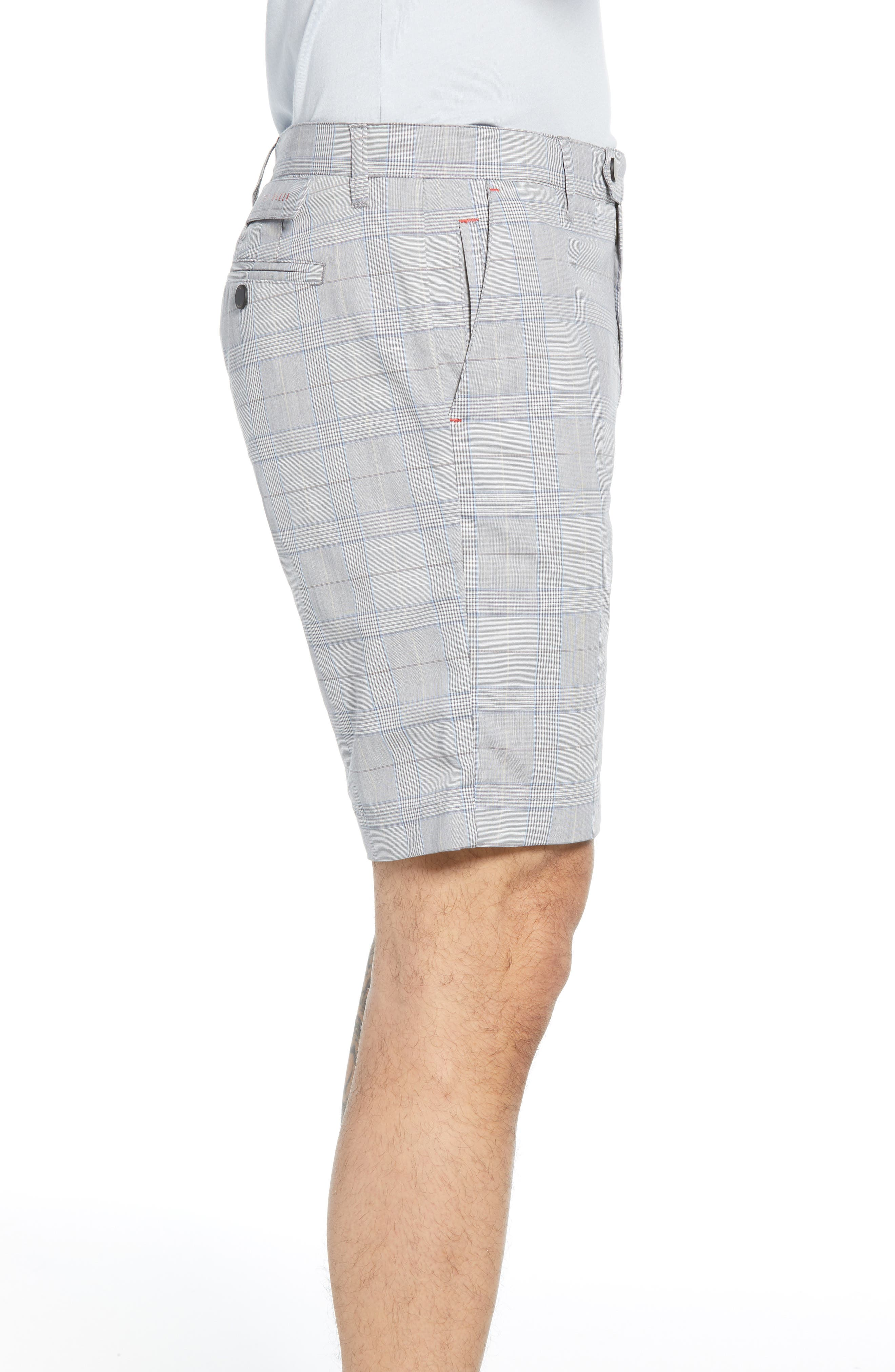 TED BAKER LONDON, Easiee Slim Fit Check Golf Shorts, Alternate thumbnail 3, color, GREY