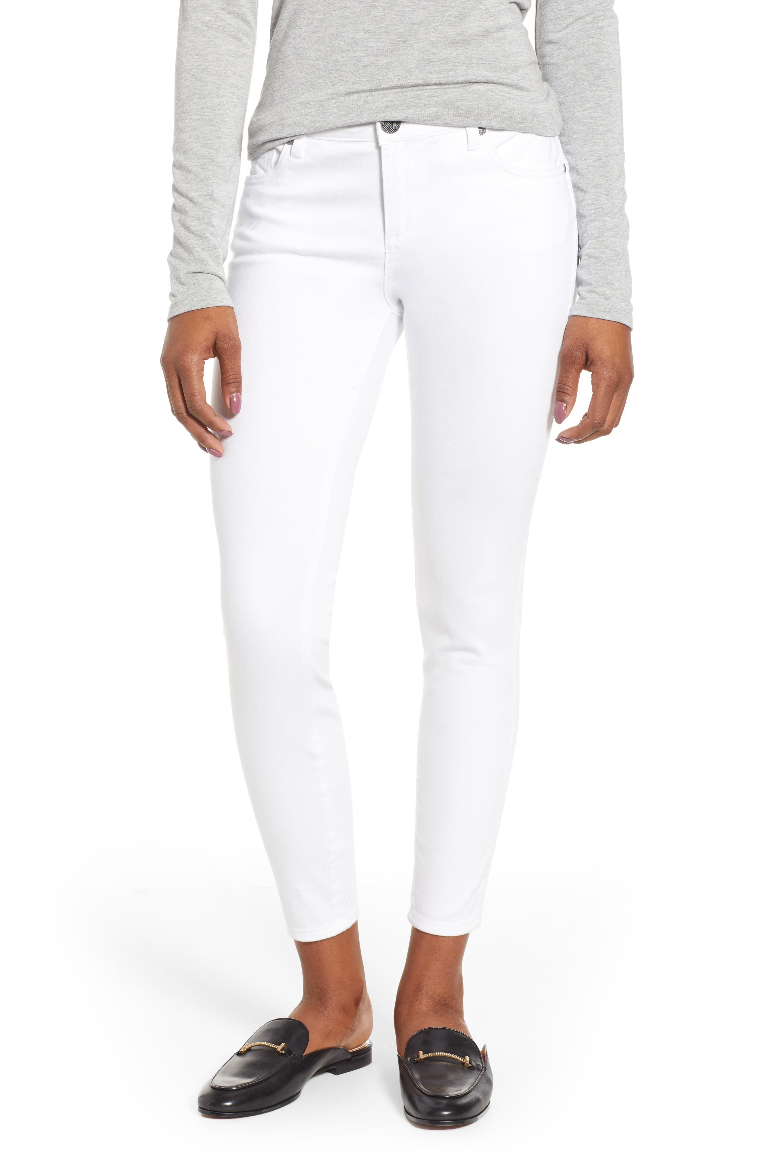 KUT FROM THE KLOTH, Donna Ankle Skinny Jeans, Main thumbnail 1, color, OPTIC WHITE