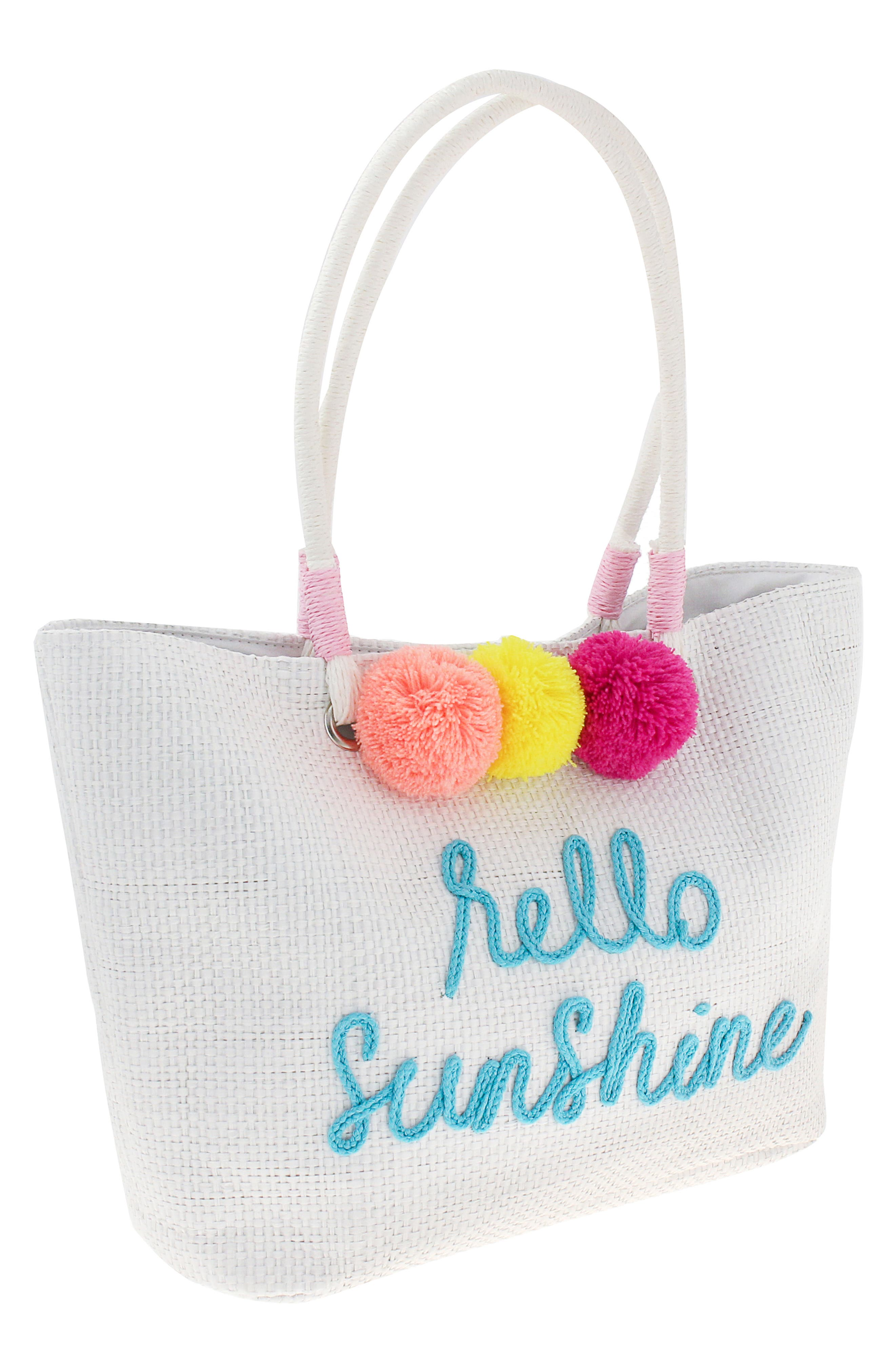 Girls Capelli New York Hello Sunshine Straw Tote  White