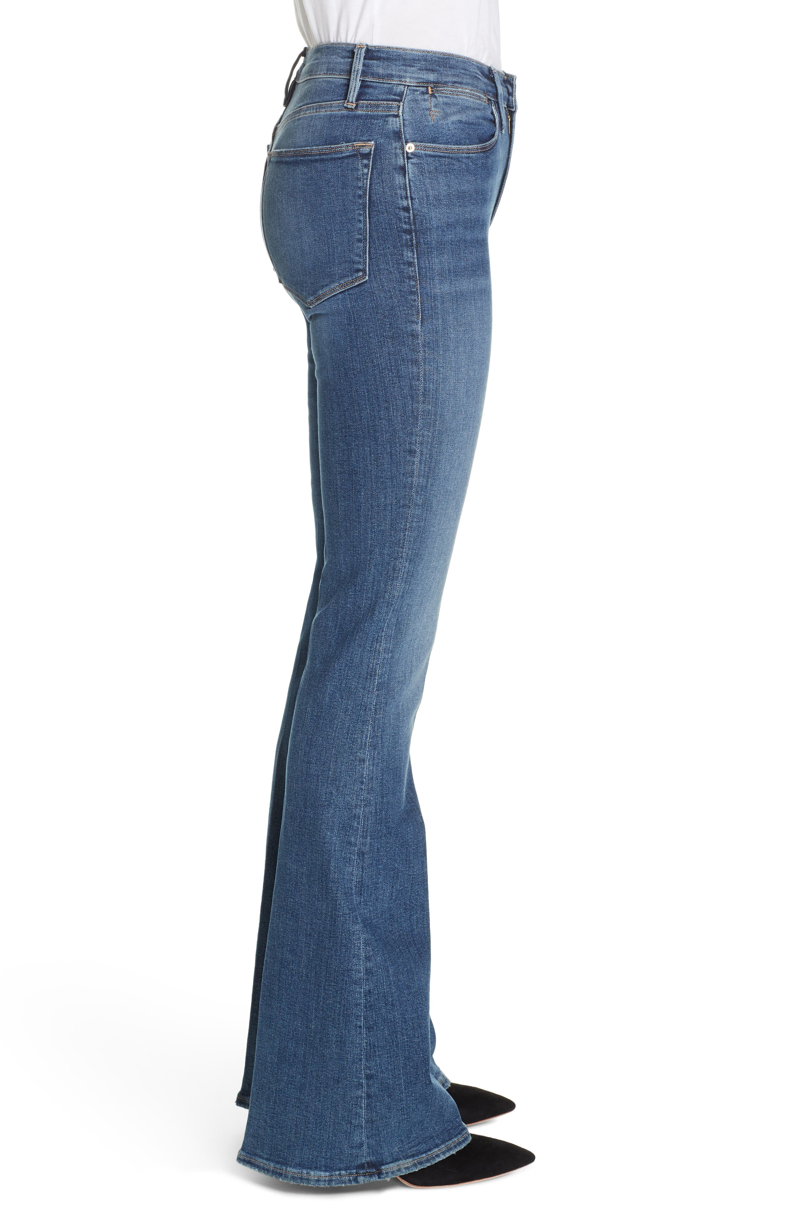 FRAME, Le High Flare Jeans, Alternate thumbnail 5, color, CRISTALLO