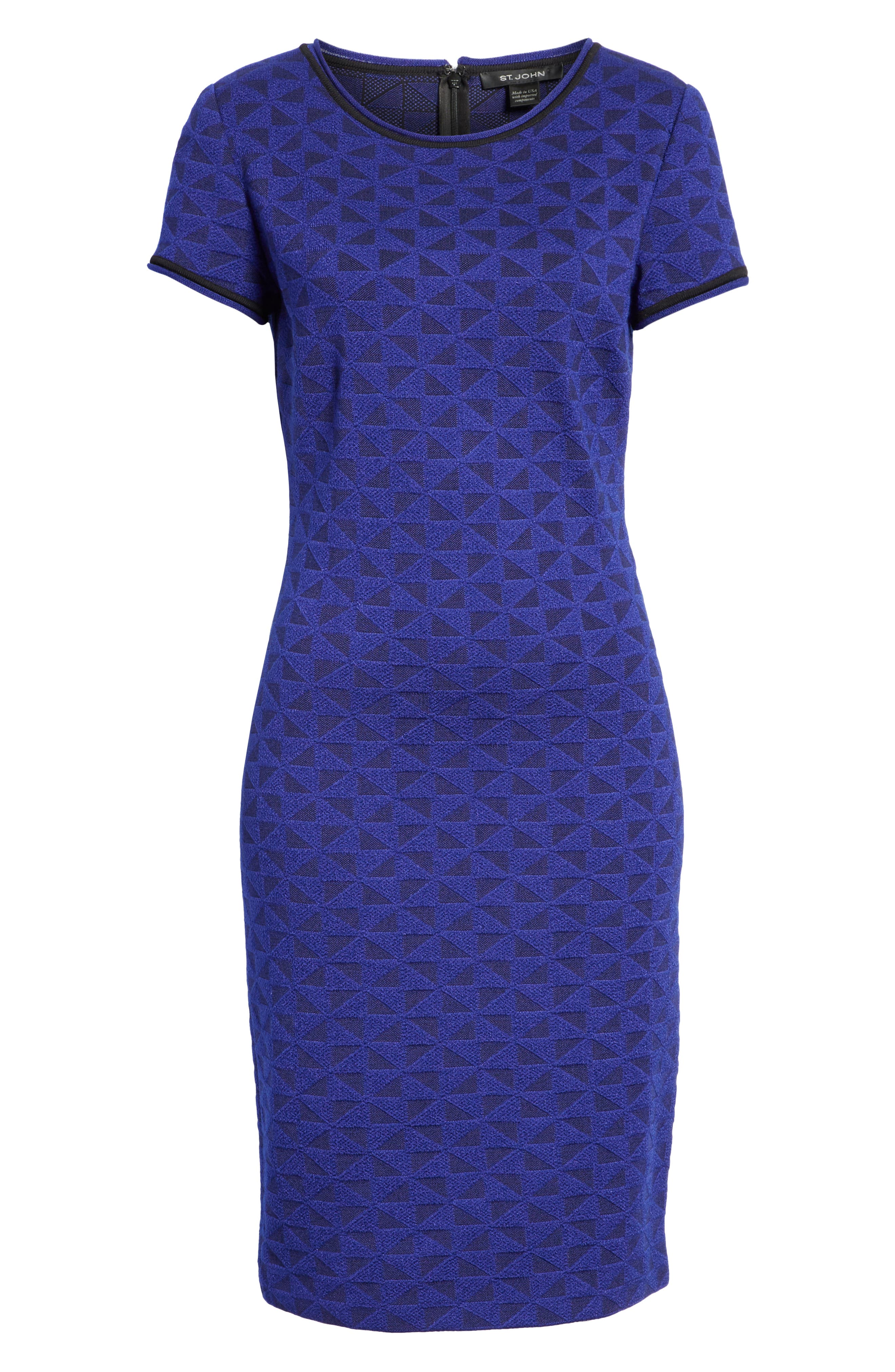 ST. JOHN COLLECTION, Micro Geo Blister Knit Sheath Dress, Alternate thumbnail 7, color, CAVIAR/ SAPPHIRE