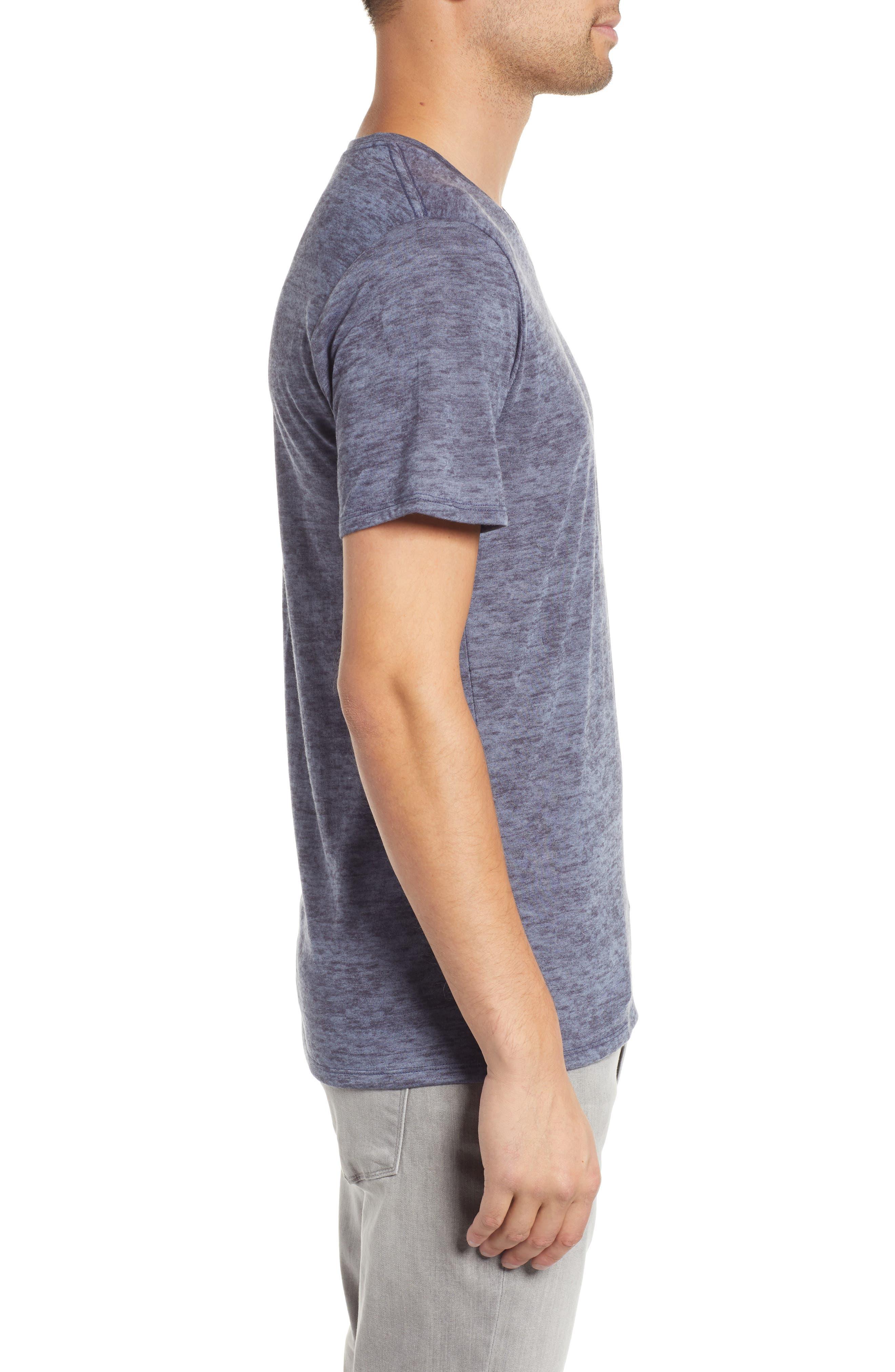 THE RAIL, Burnout V-Neck T-Shirt, Alternate thumbnail 3, color, BLUE STONEWASH - NAVY BURNOUT