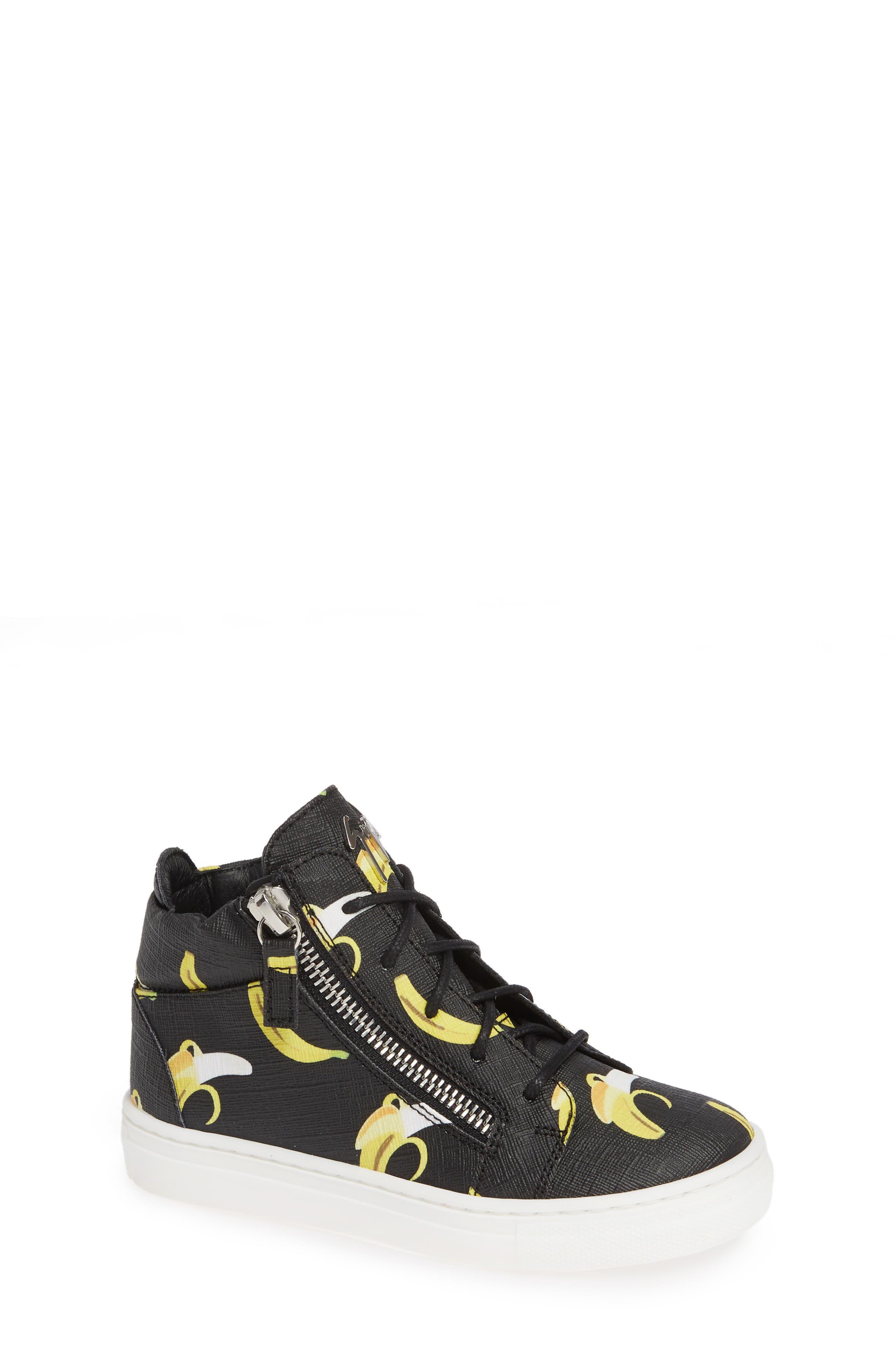 GIUSEPPE ZANOTTI, Kidlondon Banana Print Sneaker, Main thumbnail 1, color, BANANAS