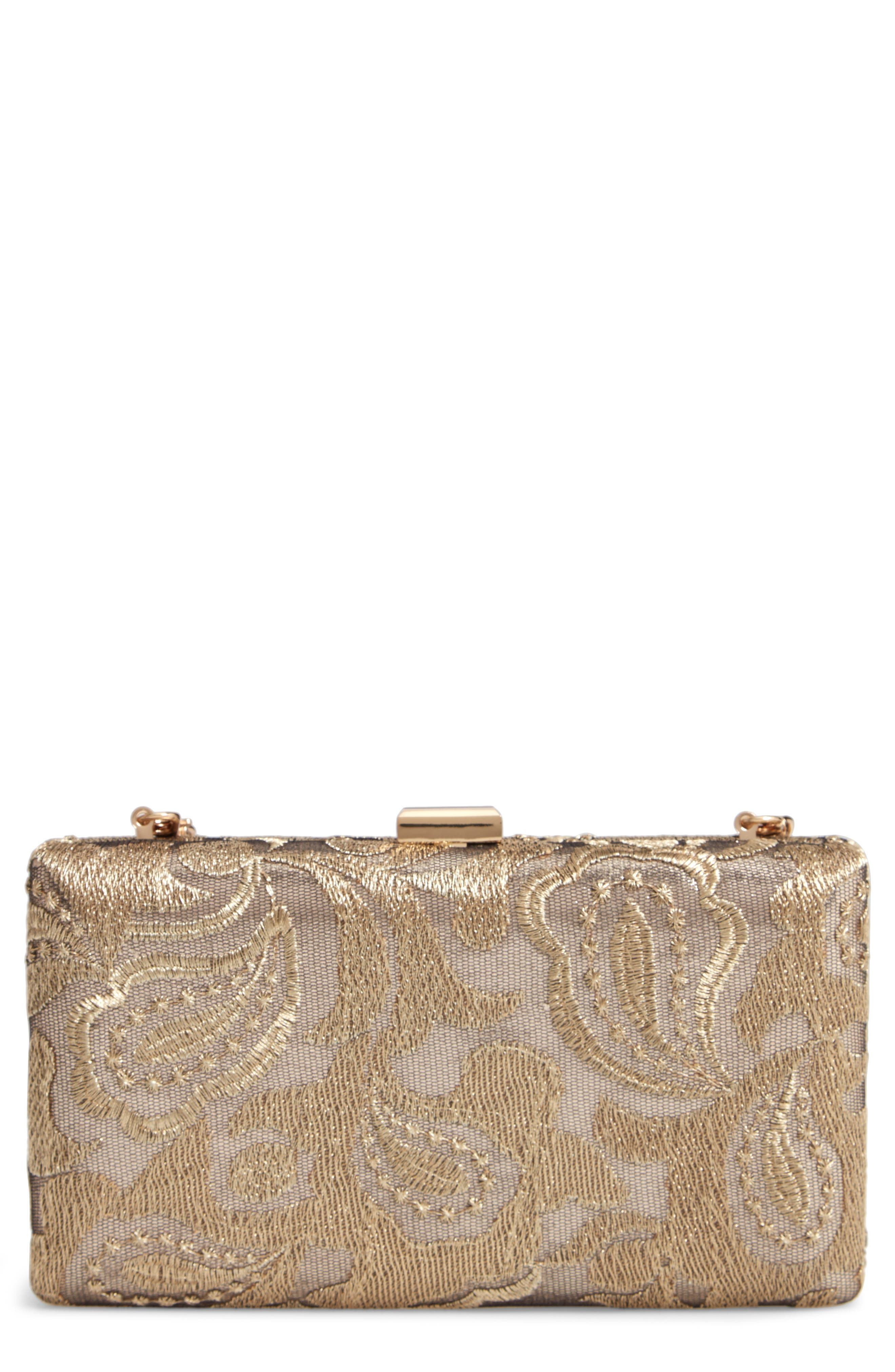 NORDSTROM, Metallic Lace Pattern Box Minaudière, Main thumbnail 1, color, 710