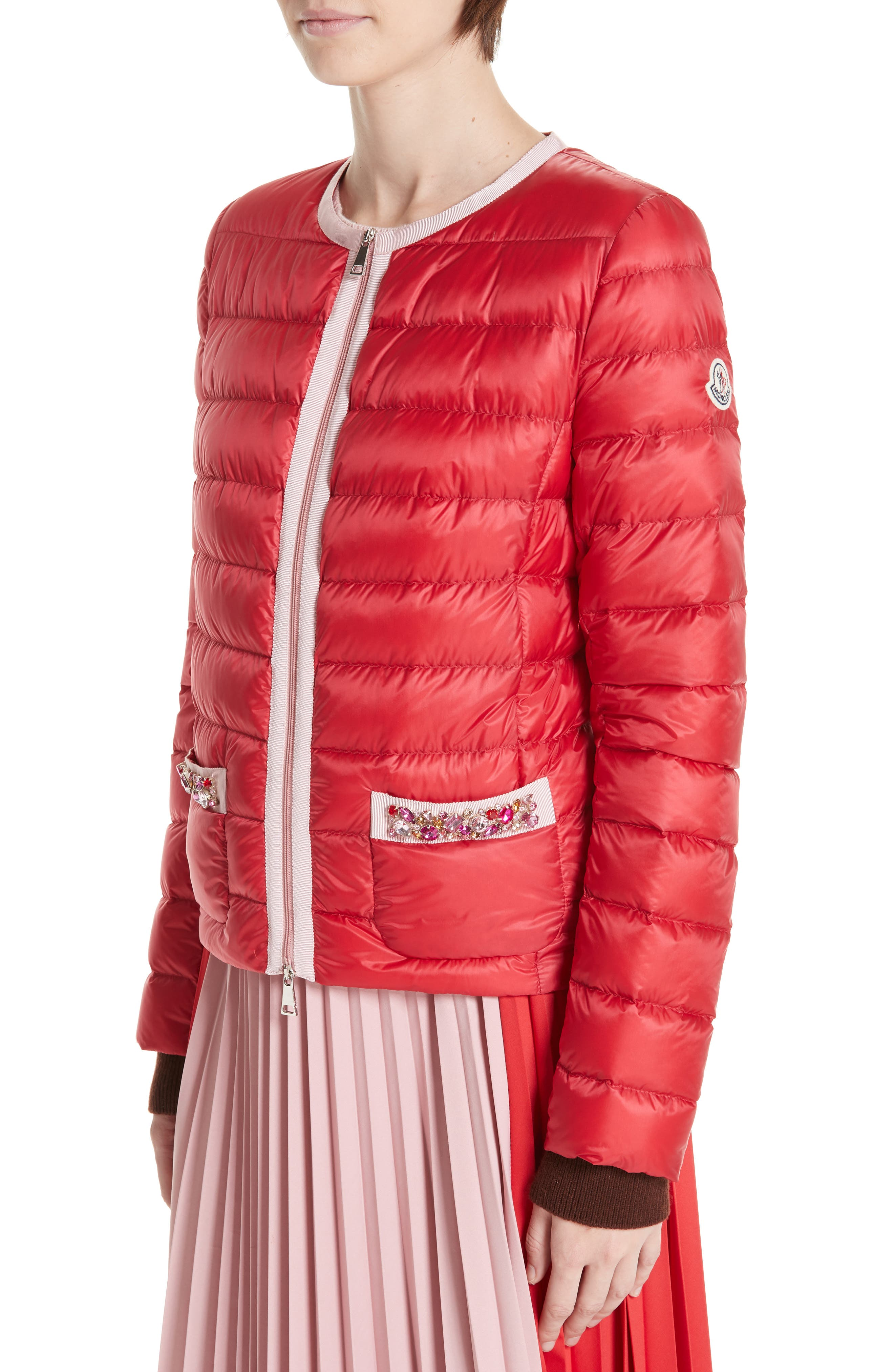 MONCLER, Cristalline Jacket, Alternate thumbnail 5, color, RED