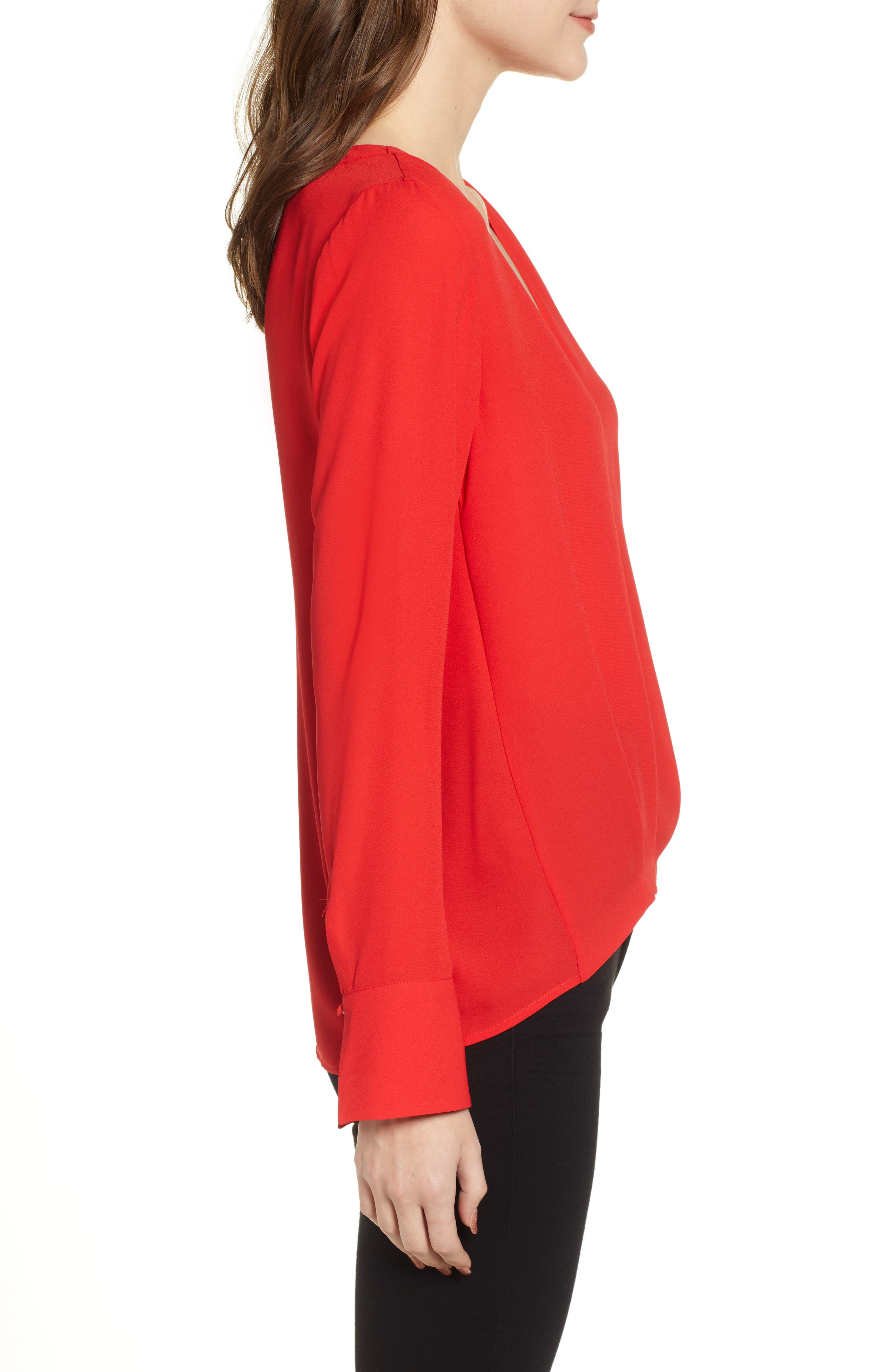 CHELSEA28, Tucked Top, Alternate thumbnail 3, color, RED CHINOISE