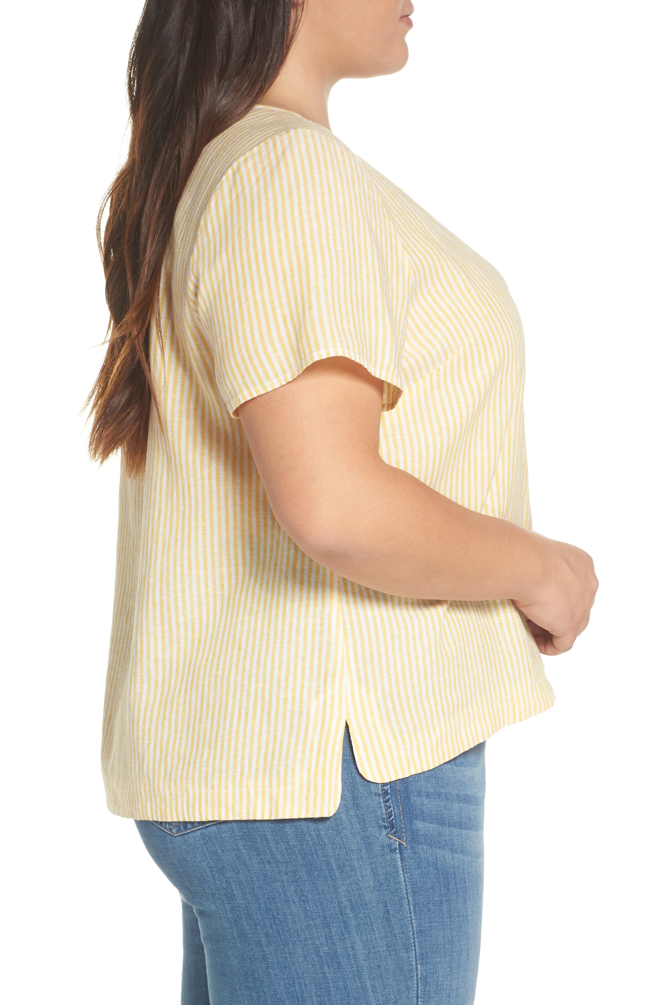 BP., Button Front Linen Blend Top, Alternate thumbnail 9, color, YELLOW WHIP MARA STRIPE