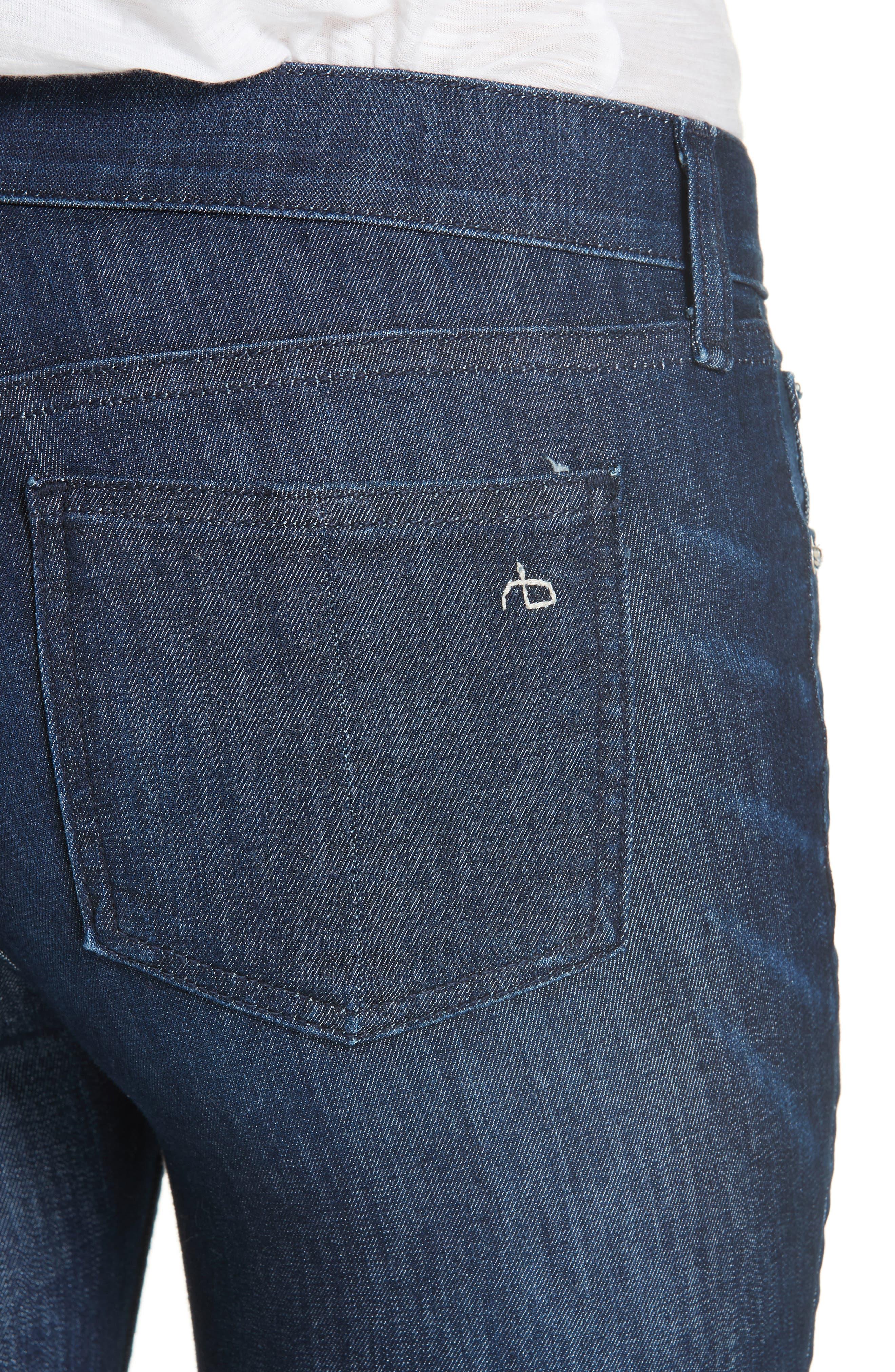RAG & BONE, Raw Hem Ankle Skinny Jeans, Alternate thumbnail 5, color, TONAL RIVER