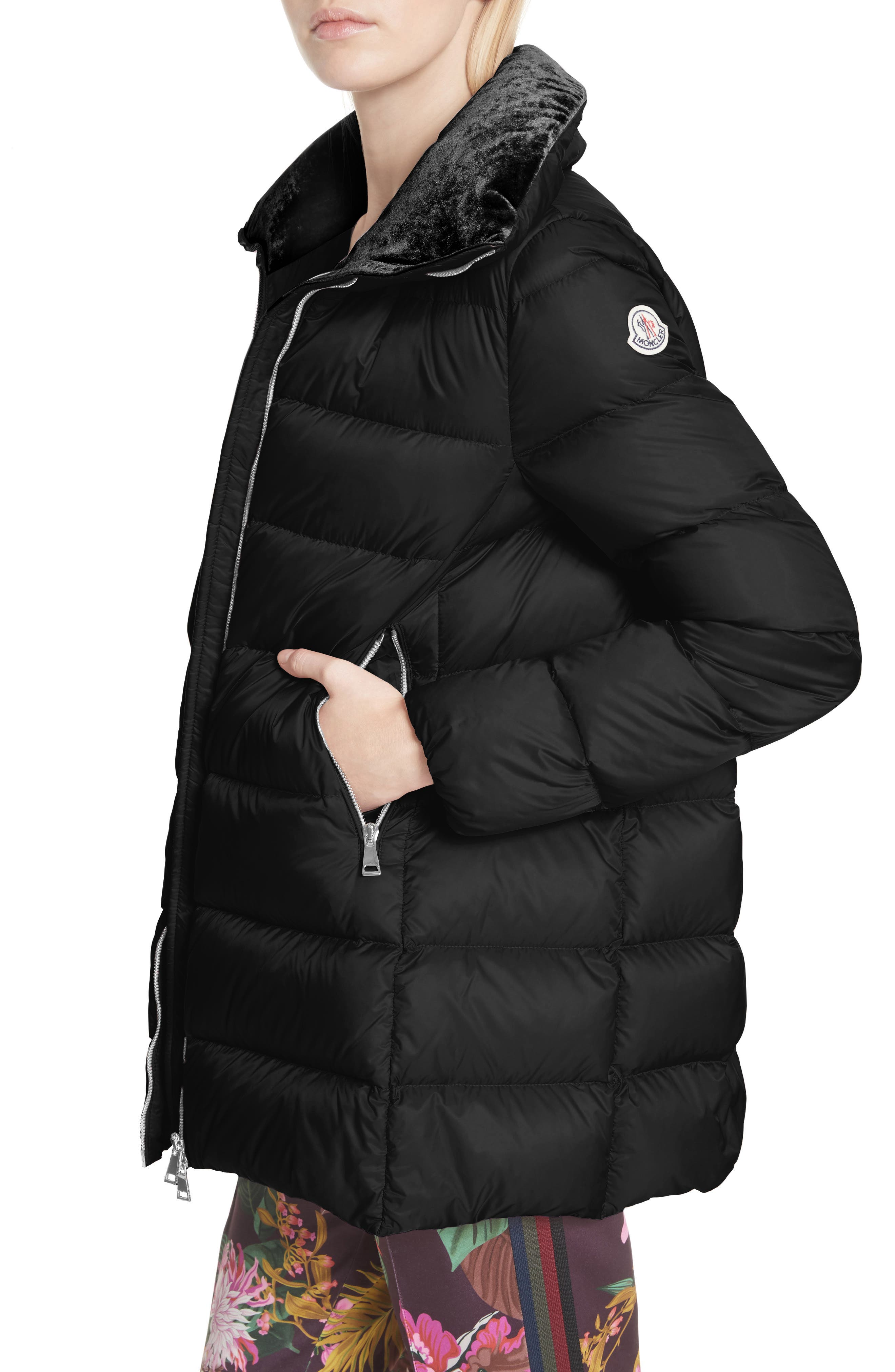 MONCLER, Torcol Quilted Down Jacket, Alternate thumbnail 4, color, BLACK