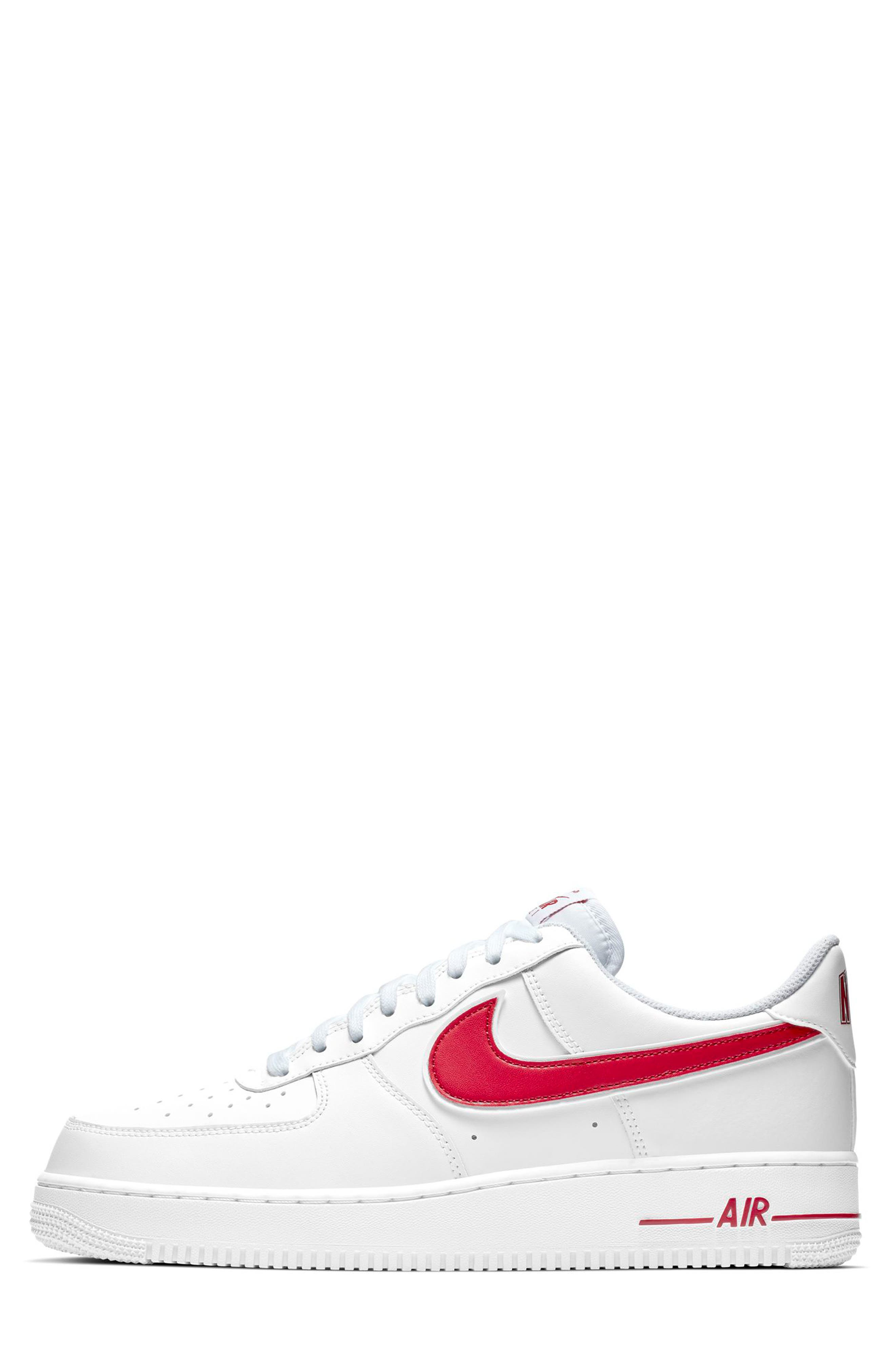 NIKE, Air Force 1 '07 3 Sneaker, Alternate thumbnail 6, color, WHITE/ GYM RED