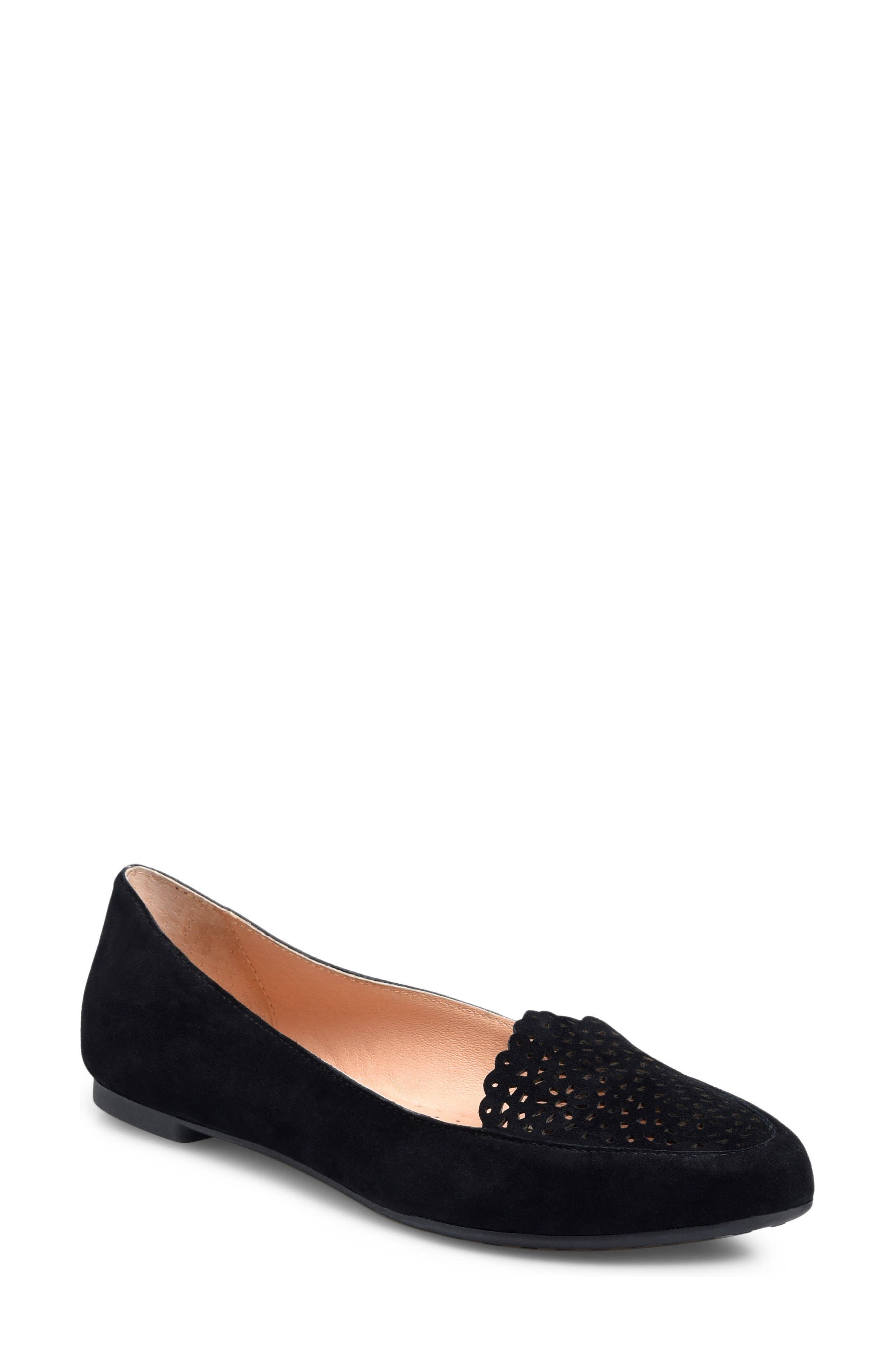 ONO Marna Flat, Main, color, BLACK SUEDE