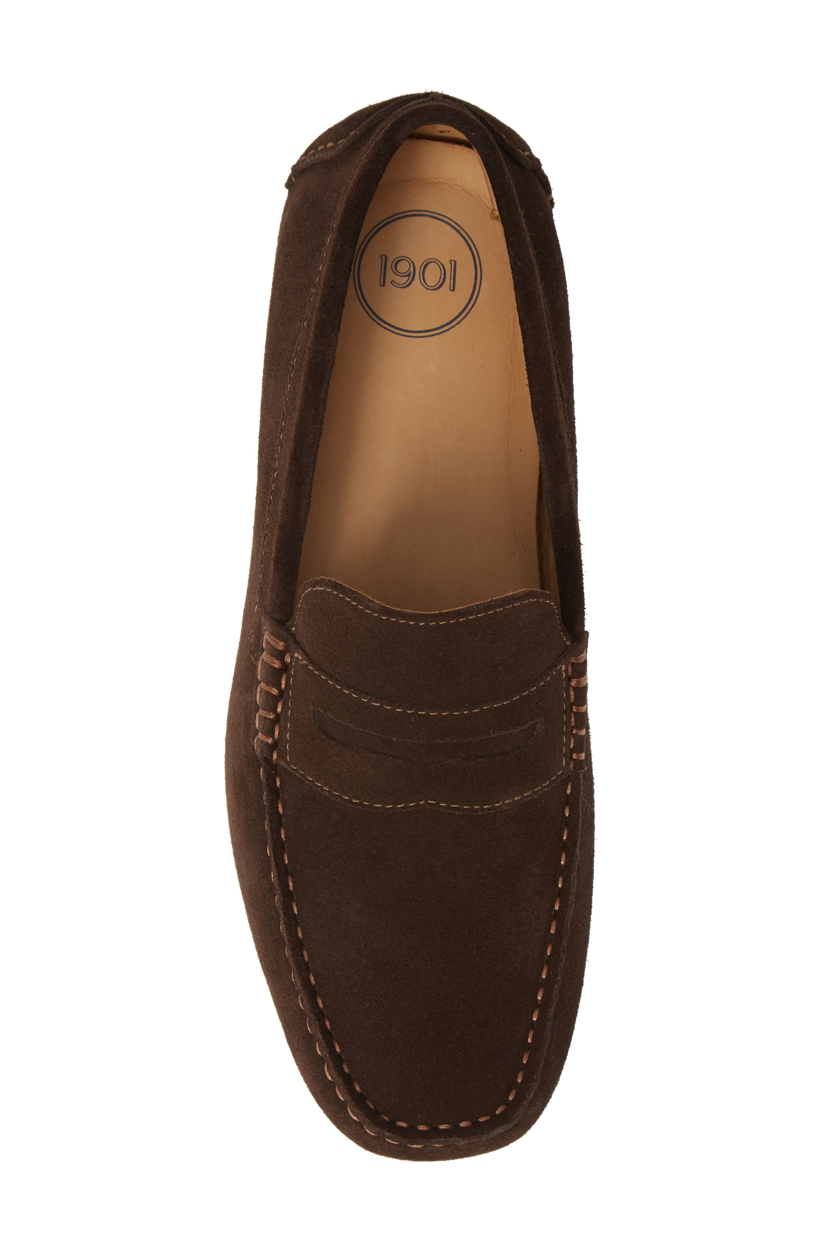 1901, Bermuda Penny Loafer, Alternate thumbnail 5, color, BROWN SUEDE