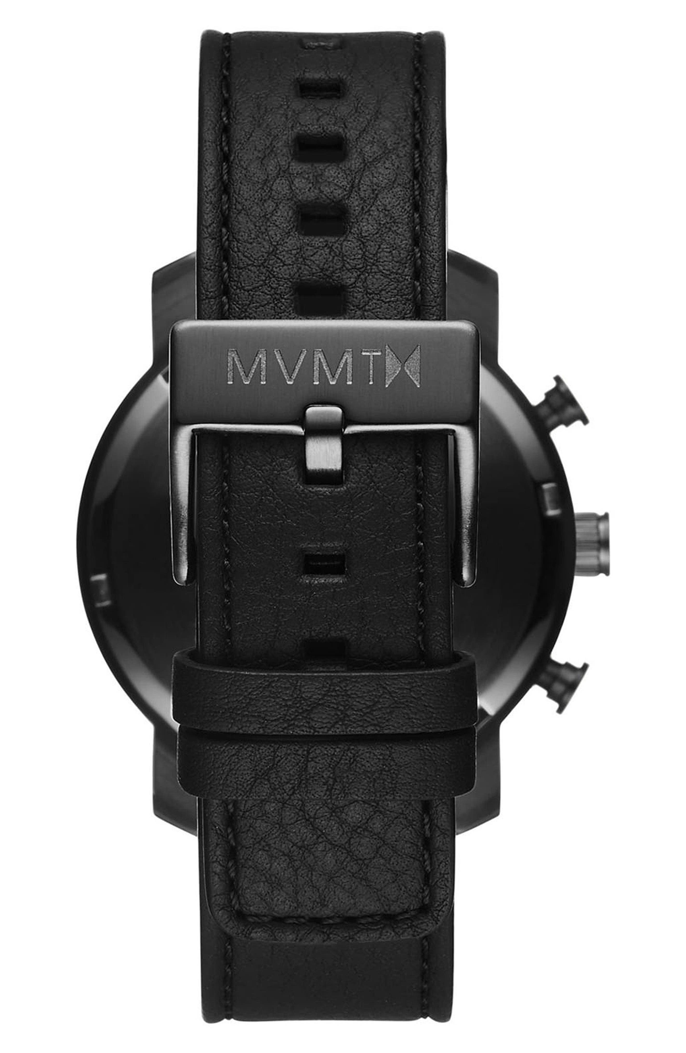 MVMT, The Chrono Chronograph Leather Strap Watch, 40mm, Alternate thumbnail 2, color, GUNMETAL/BLACK