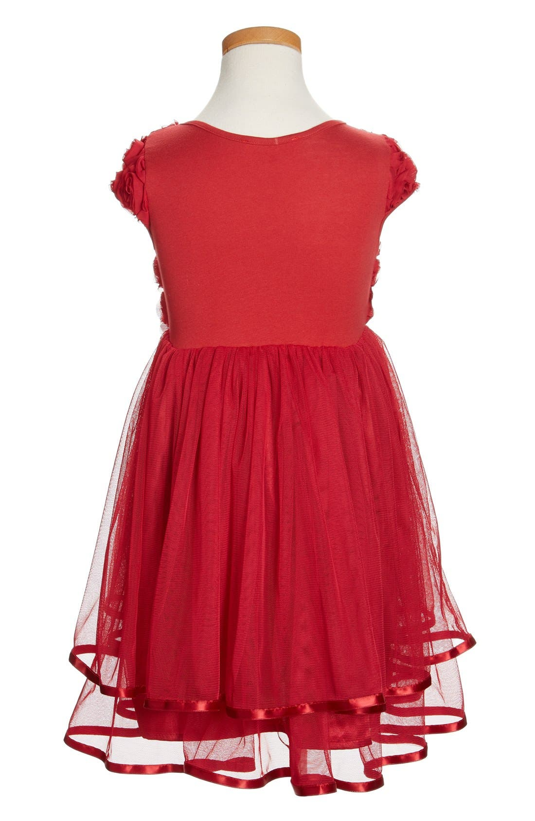 POPATU, Ribbon Rosette Tulle Dress, Alternate thumbnail 2, color, BURGUNDY