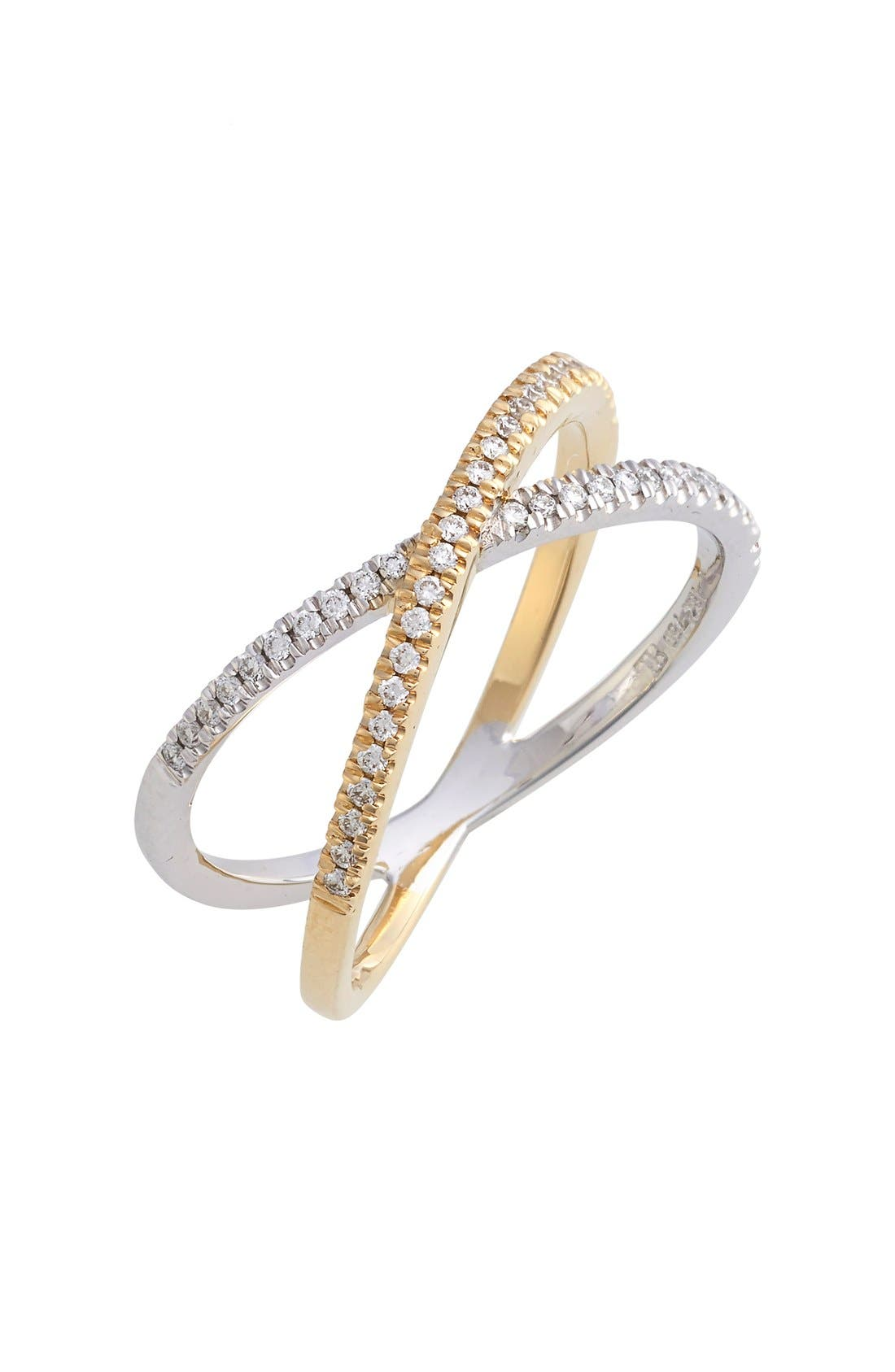 BONY LEVY, Stackable Crossover Diamond Ring, Main thumbnail 1, color, WHITE GOLD/ YELLOW GOLD