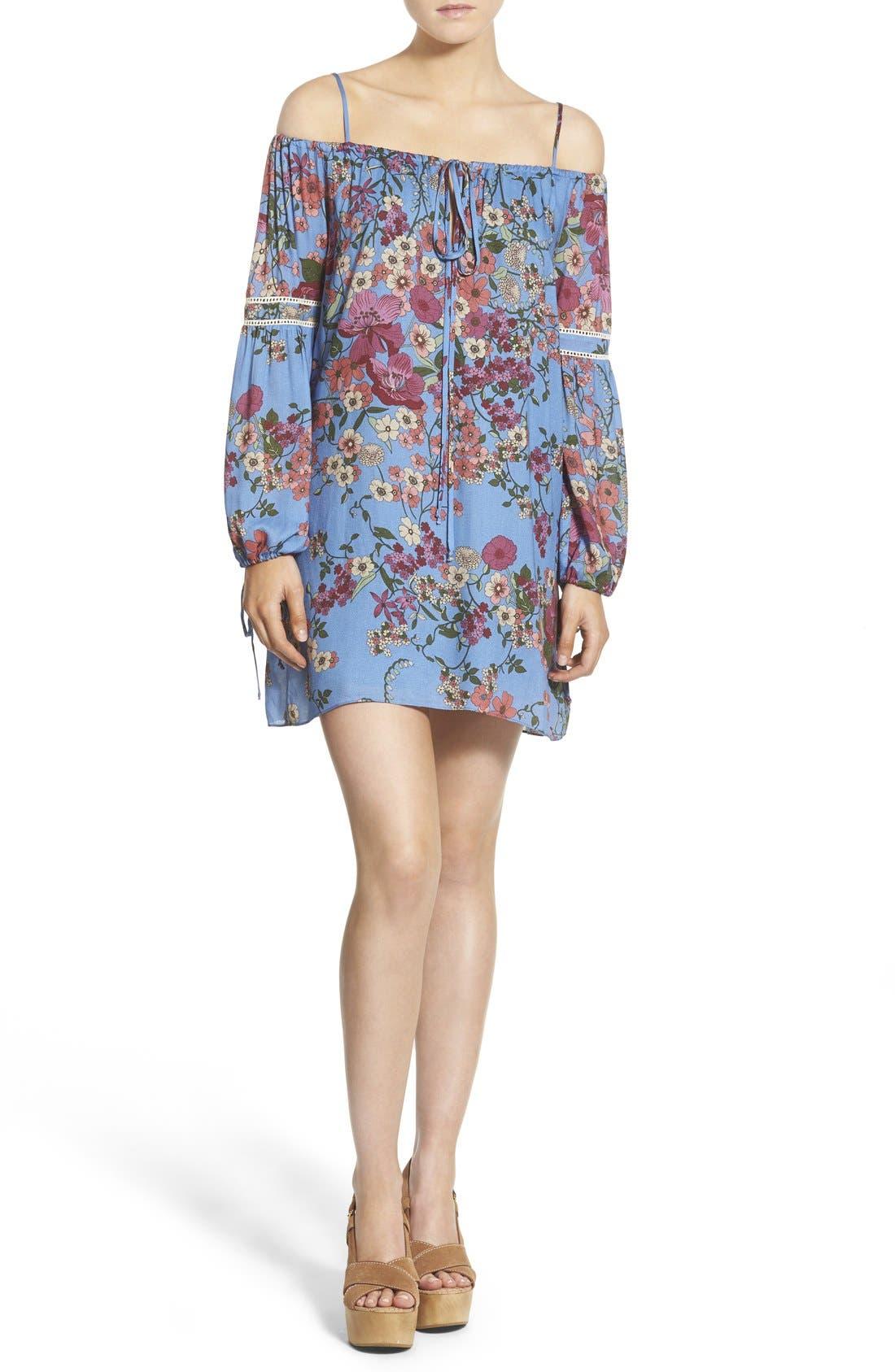 WAYF Cold Shoulder Shift Dress, Main, color, 400