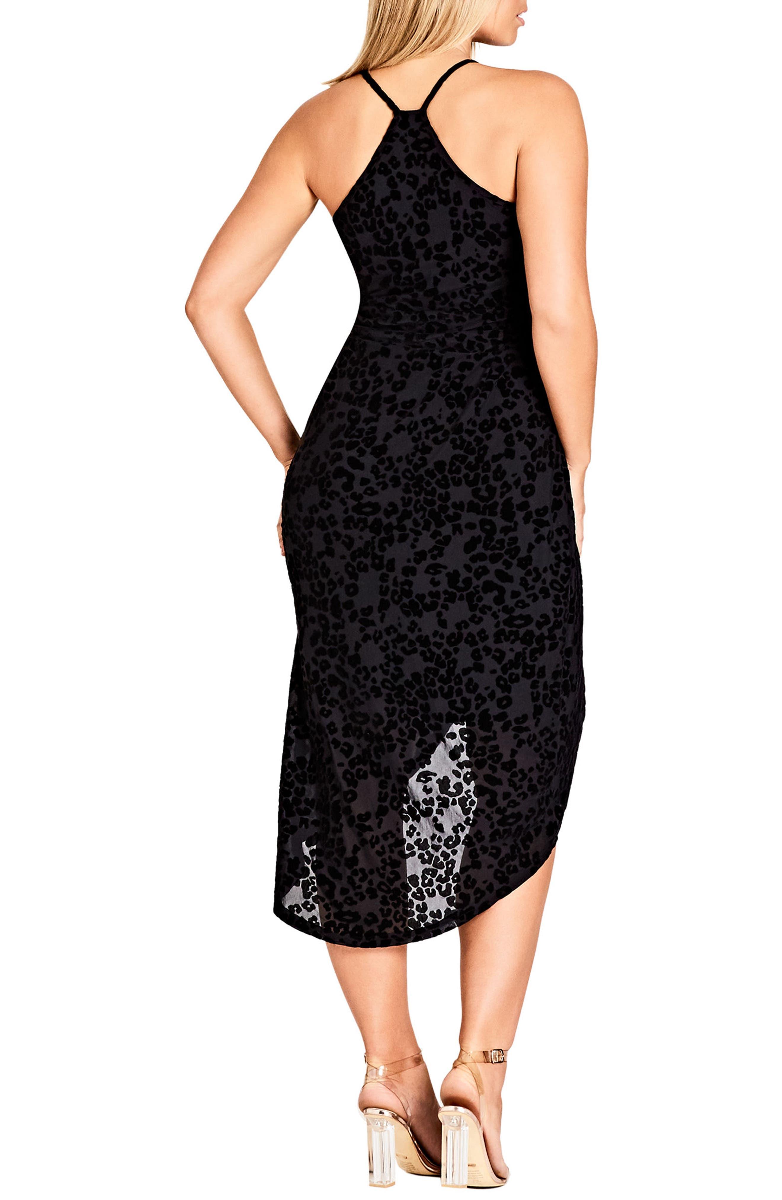 CITY CHIC, Mod Drape Dress, Alternate thumbnail 2, color, BLACK