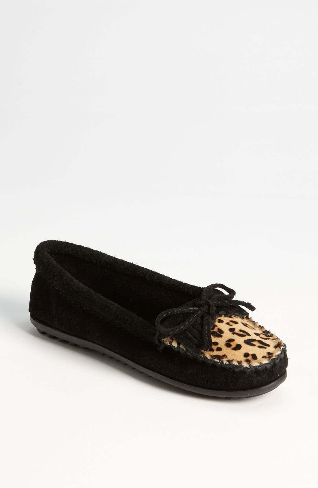 MINNETONKA, 'Leopard Kilty' Moccasin, Main thumbnail 1, color, 001