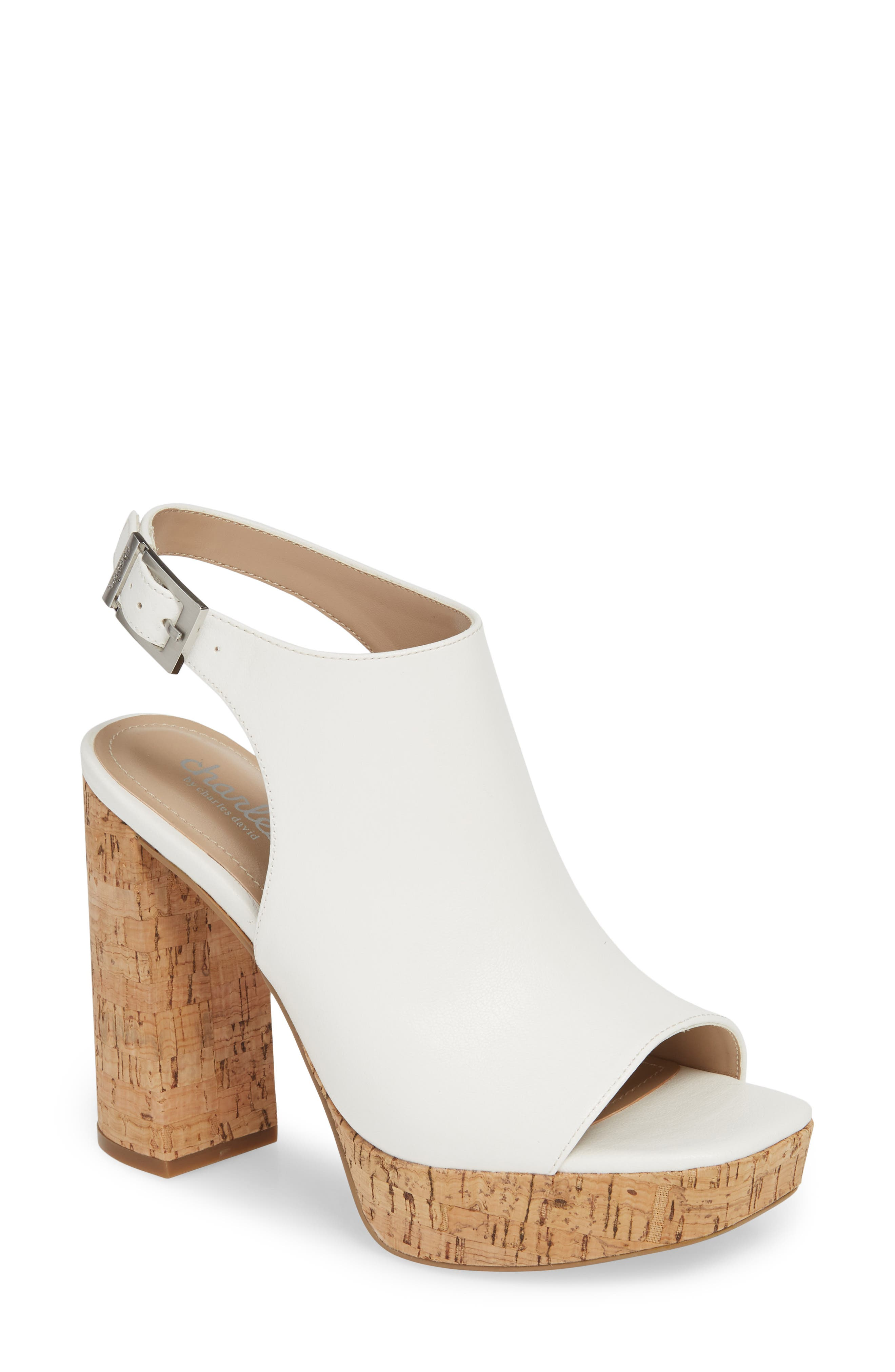CHARLES BY CHARLES DAVID Imani Platform Sandal, Main, color, WHITE FAUX LEATHER