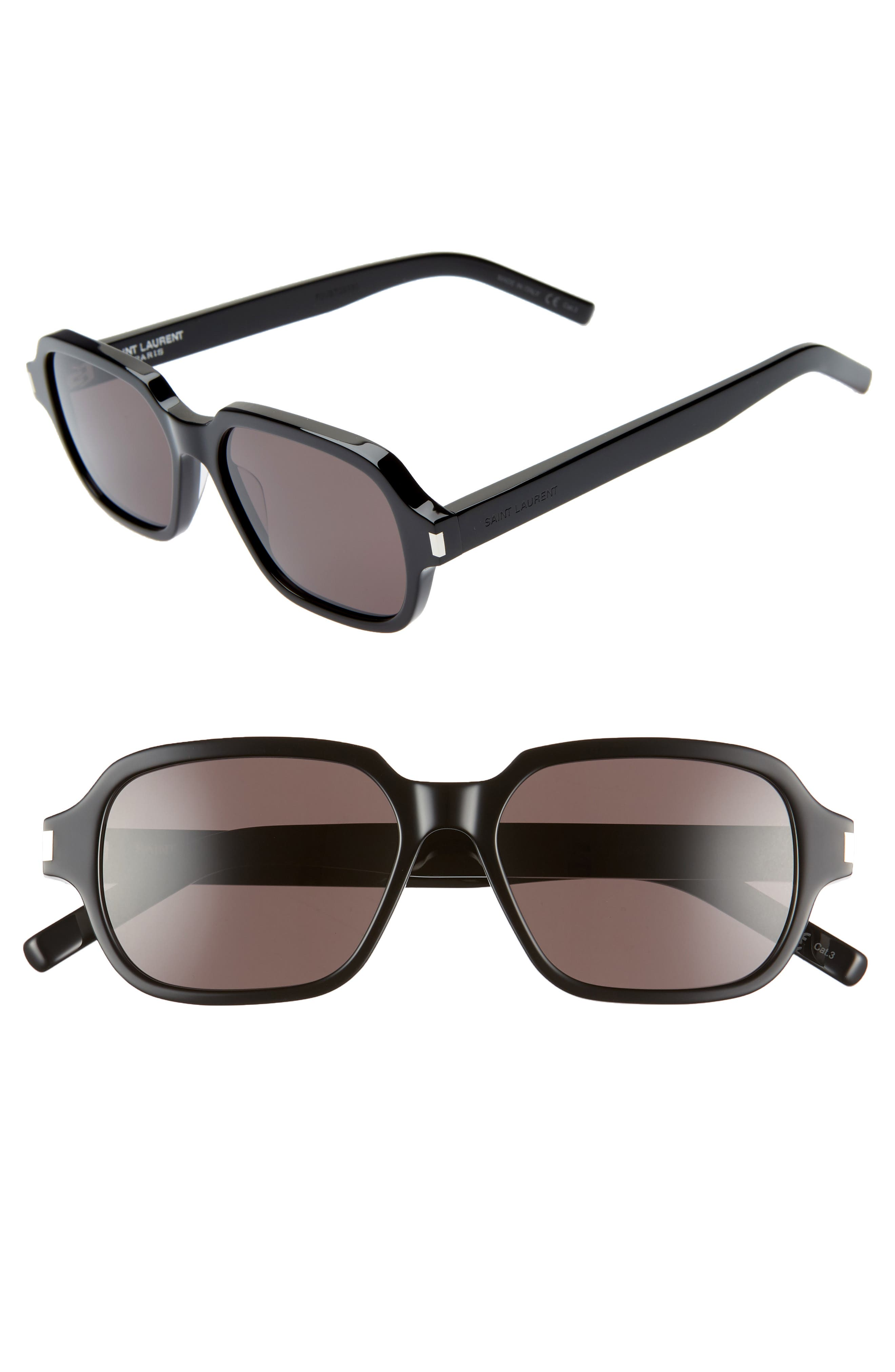 SAINT LAURENT 53mm Rectangle Sunglasses, Main, color, SHINY BLACK/ GREY SOLID