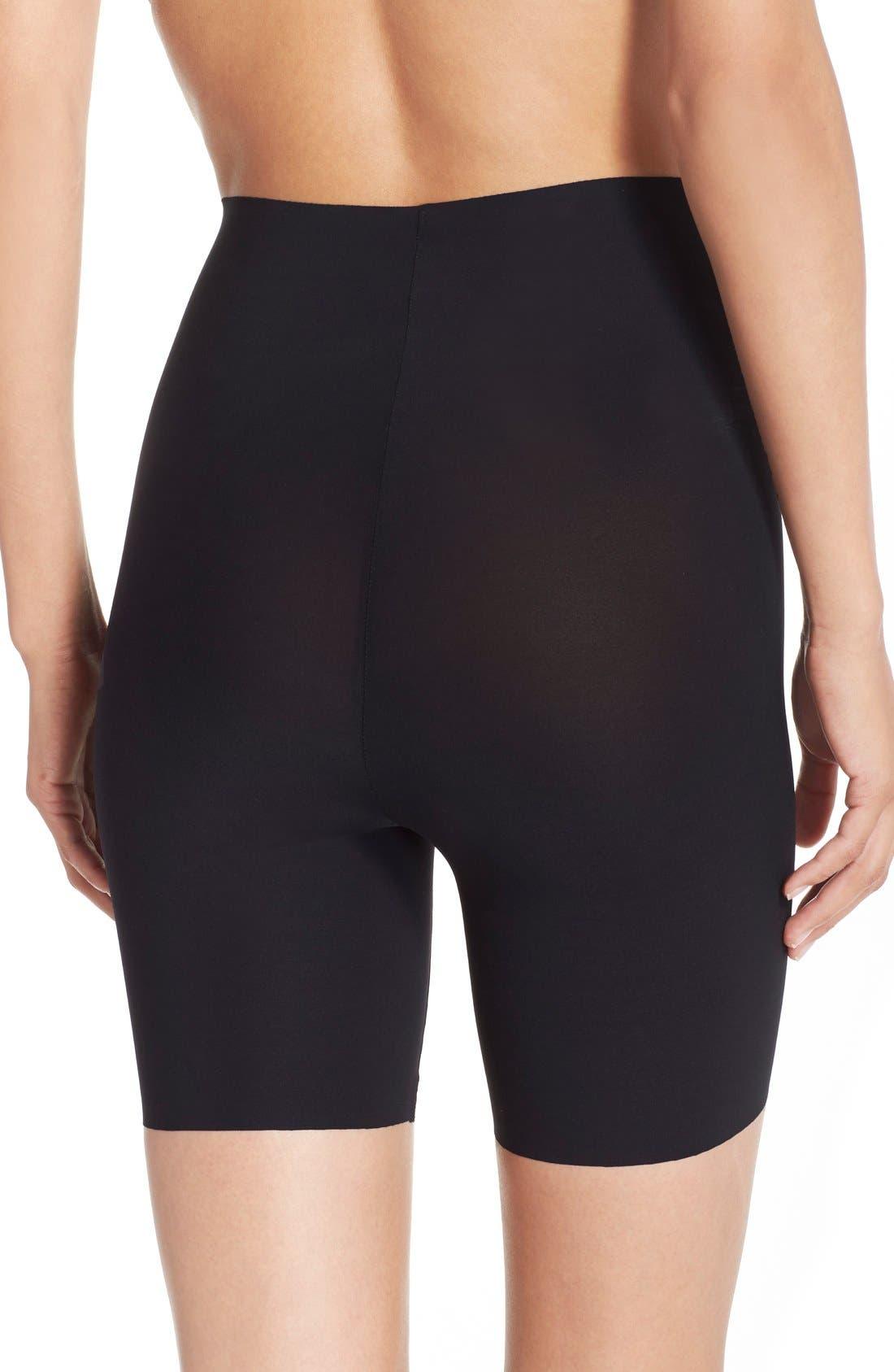COMMANDO, 'Control' High Waist Shaping Shorts, Alternate thumbnail 2, color, BLACK