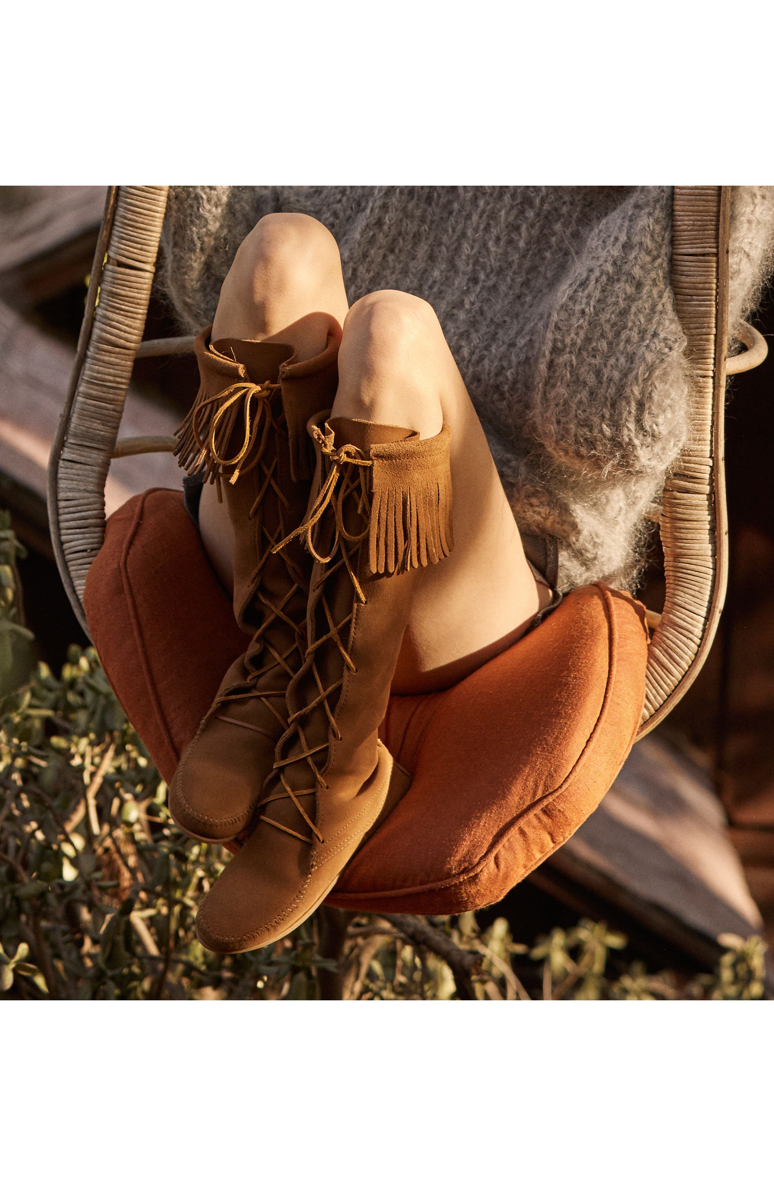 MINNETONKA, Lace-Up Boot, Alternate thumbnail 7, color, DUSTY BROWN