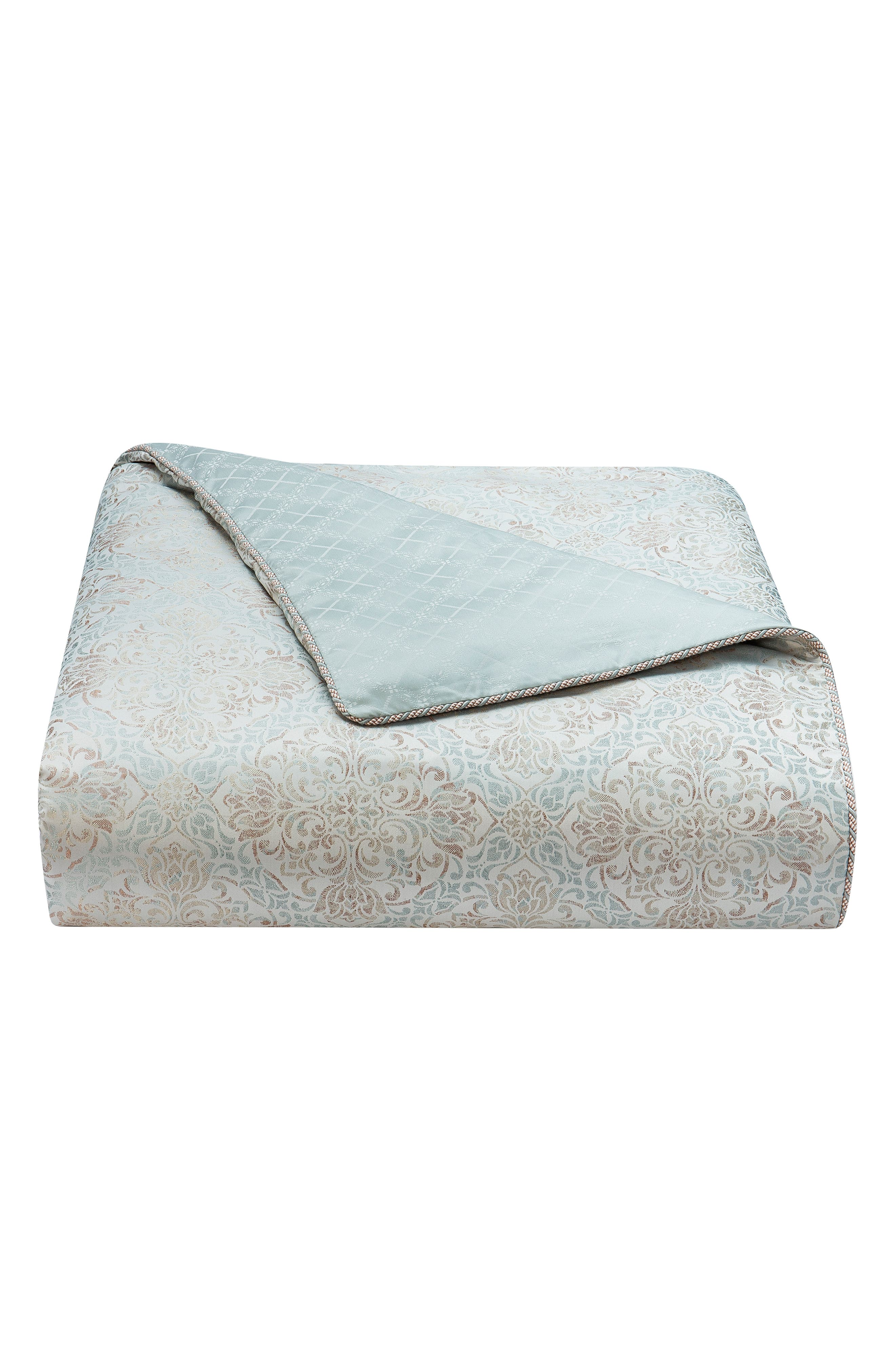 WATERFORD, Gwyneth Reversible Comforter, Sham & Bedskirt Set, Alternate thumbnail 6, color, PALE BLUE