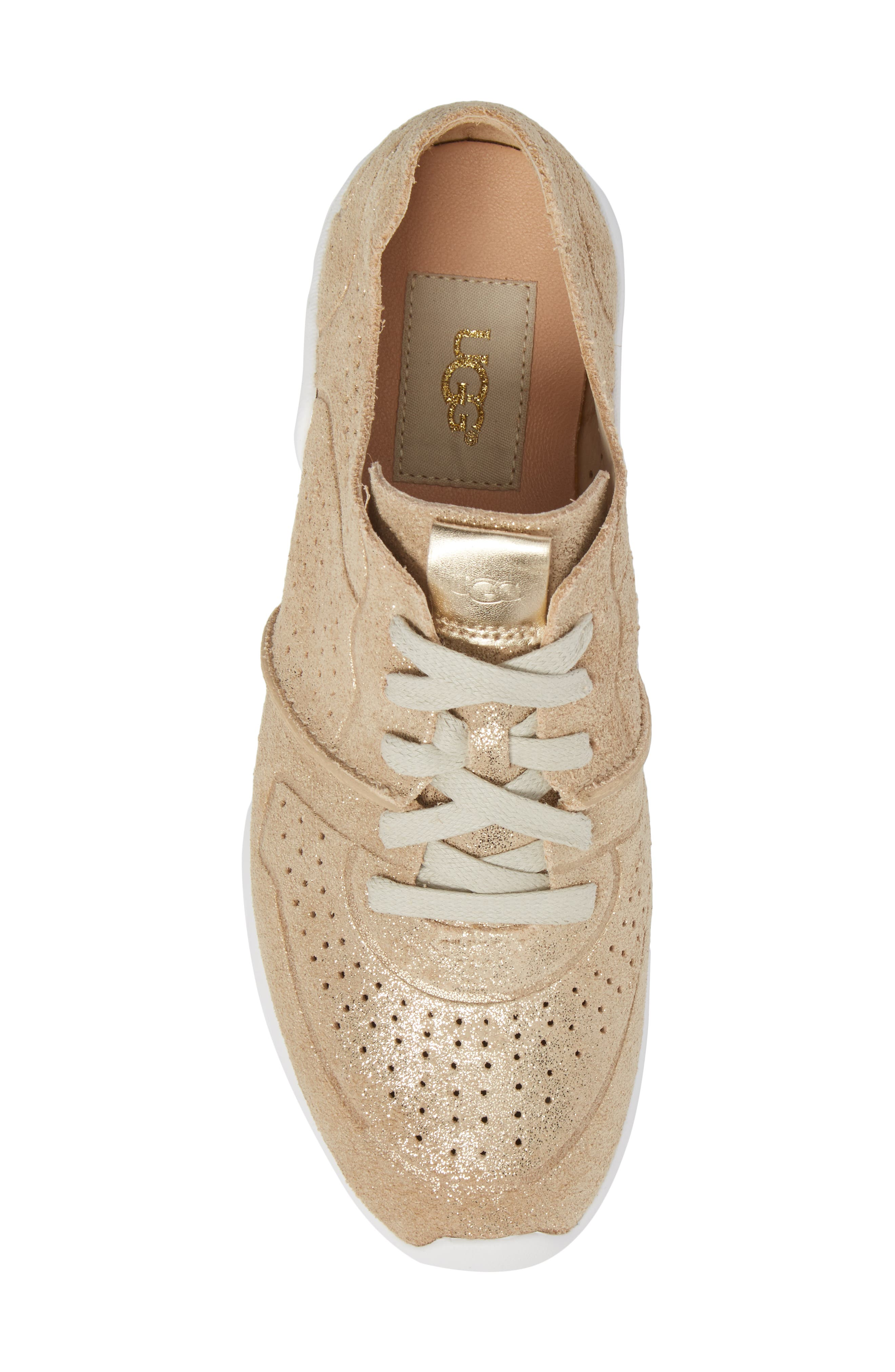 UGG<SUP>®</SUP>, Tye Stardust Sneaker, Alternate thumbnail 5, color, GOLD LEATHER