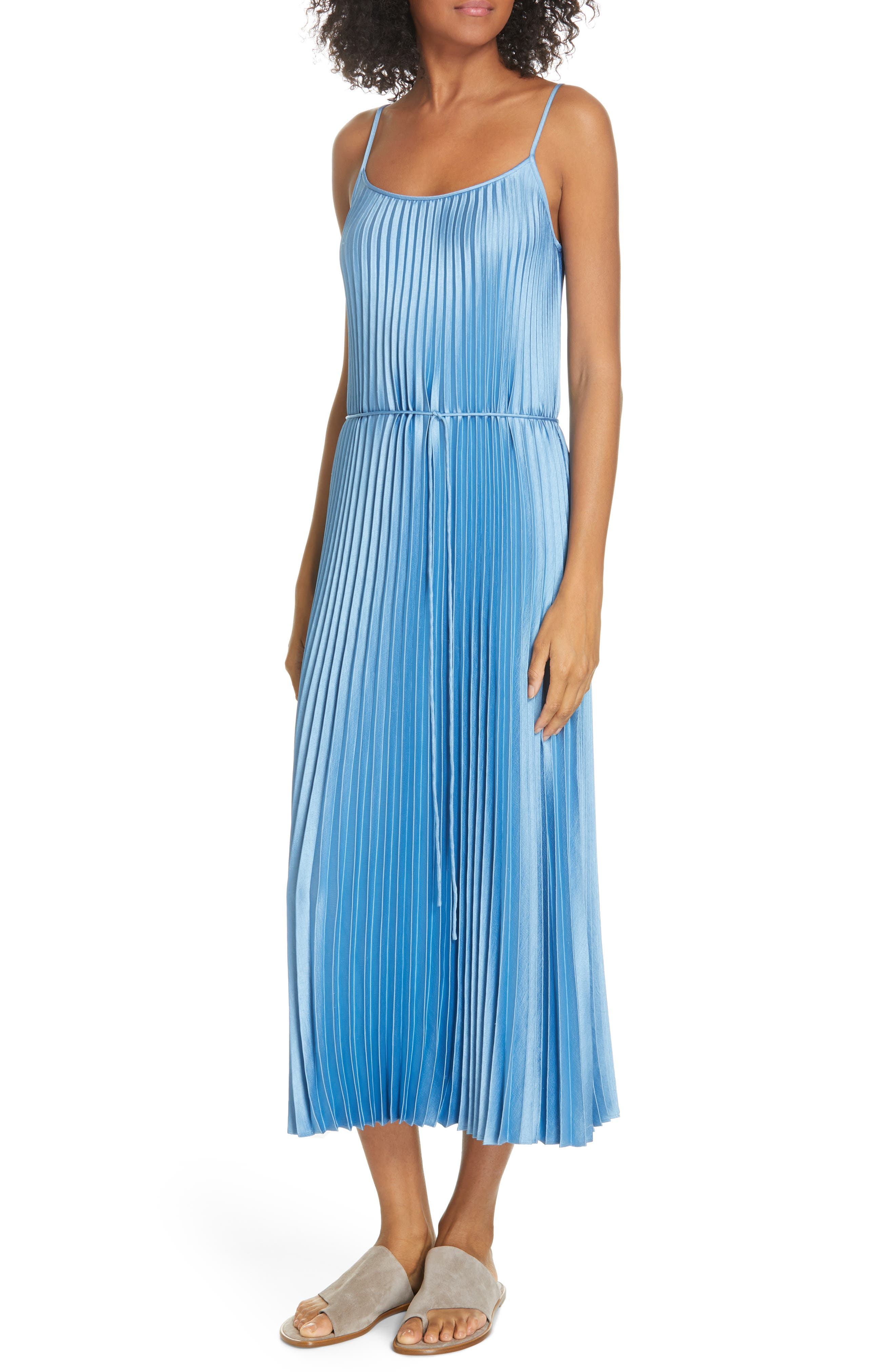 VINCE, Pleated Satin Slipdress, Alternate thumbnail 5, color, BLUE PUMICE