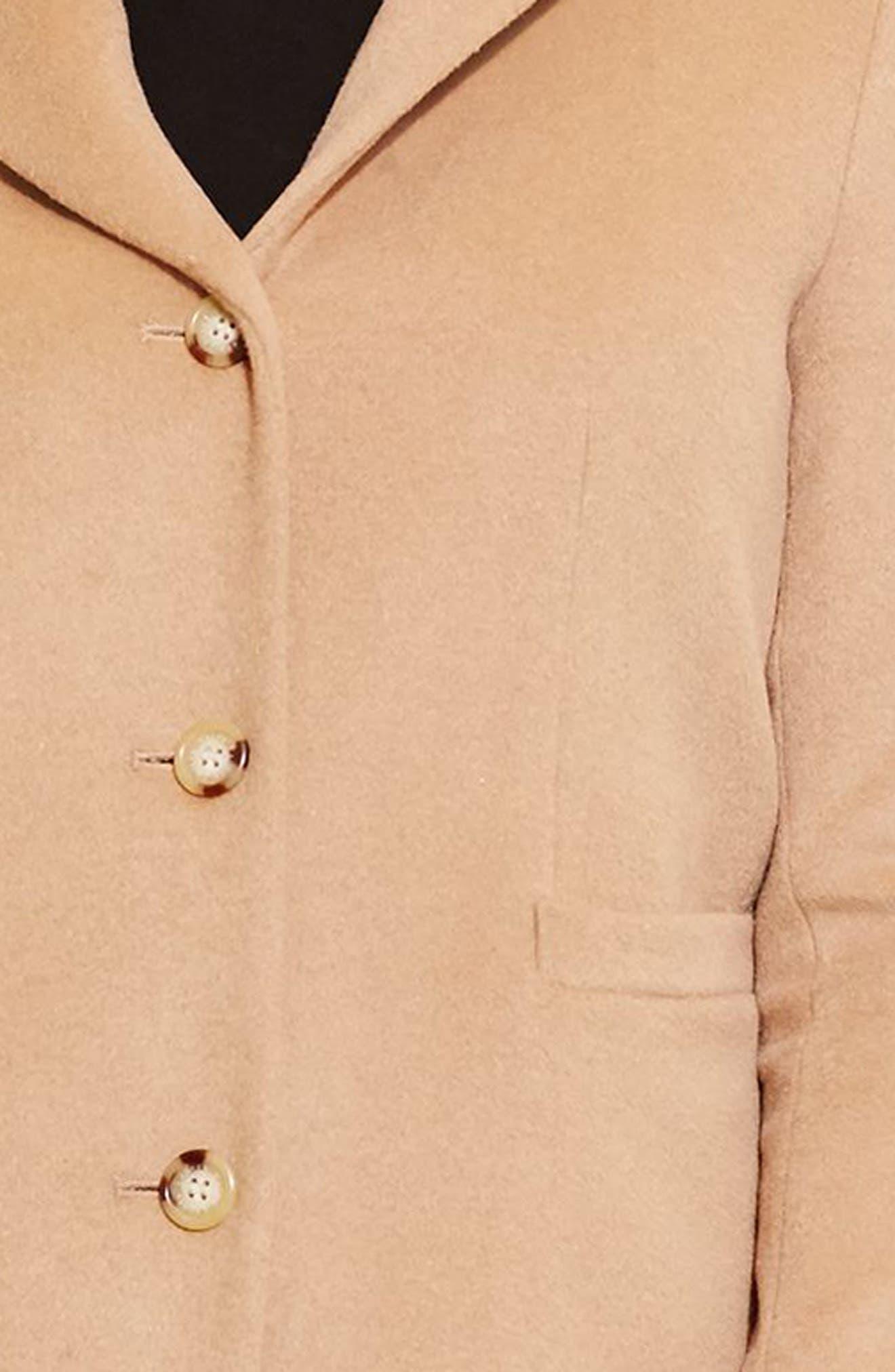 LAUREN RALPH LAUREN, Wool Blend Reefer Coat, Alternate thumbnail 6, color, CAMEL