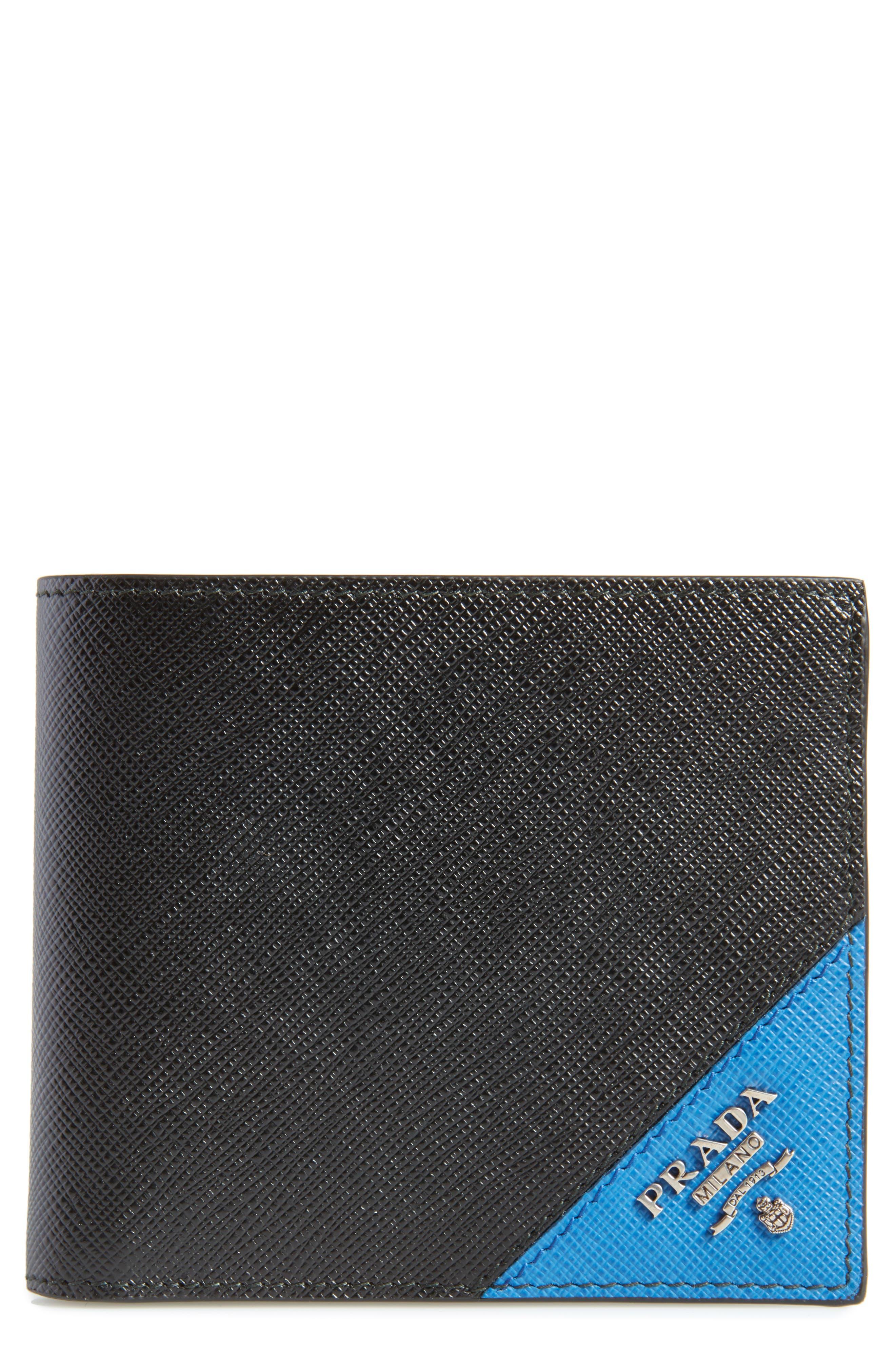 PRADA, Saffiano Leather Billfold Wallet, Main thumbnail 1, color, NERO AND CERISE