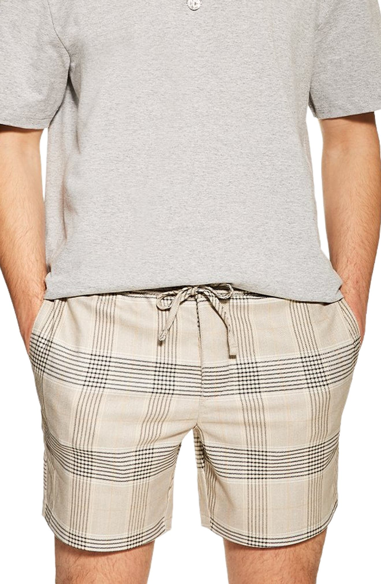 TOPMAN Check Print Shorts, Main, color, STONE