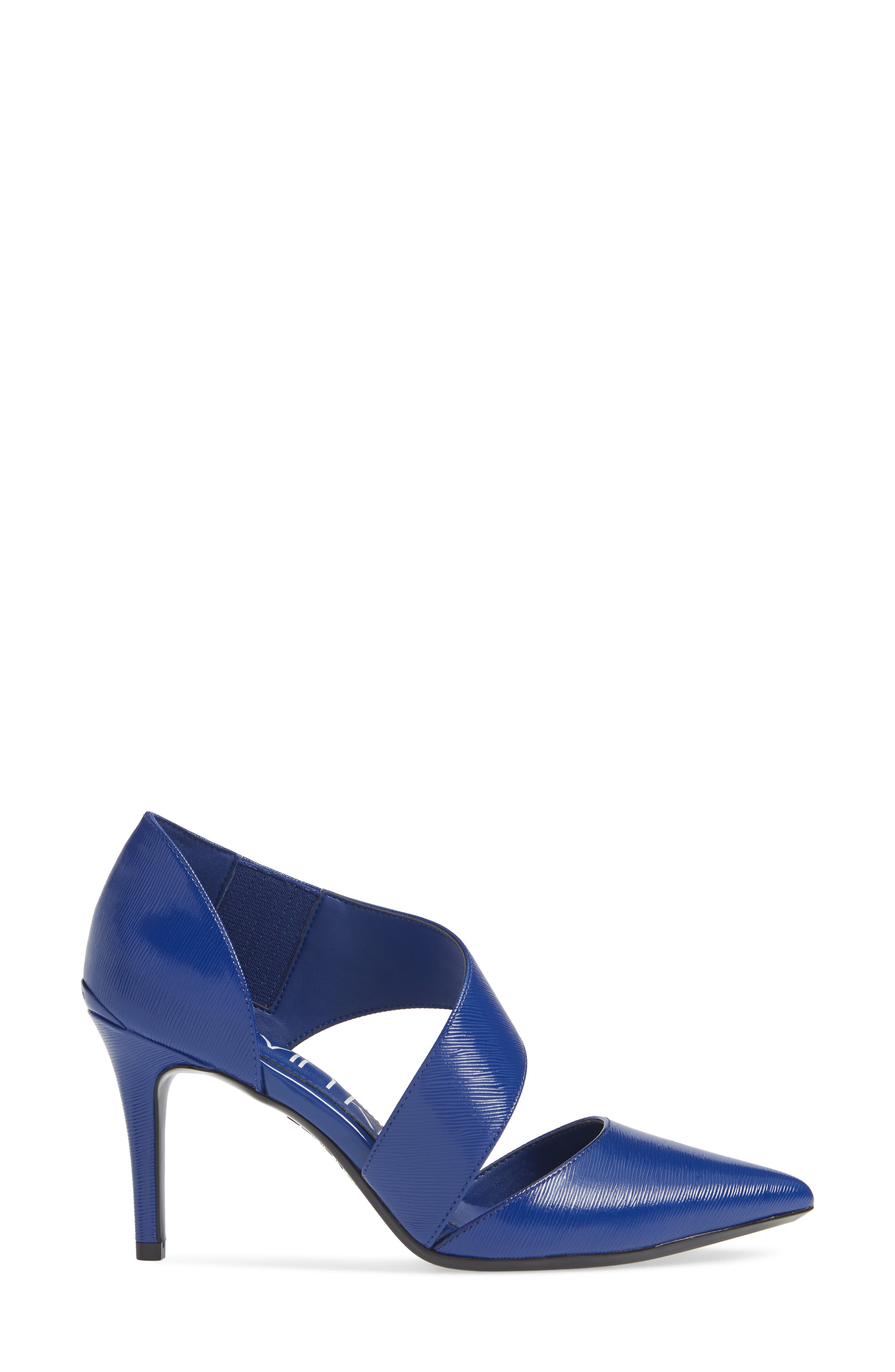 CALVIN KLEIN, 'Gella' Pointy Toe Pump, Alternate thumbnail 3, color, ROYAL BLUE PATENT LEATHER